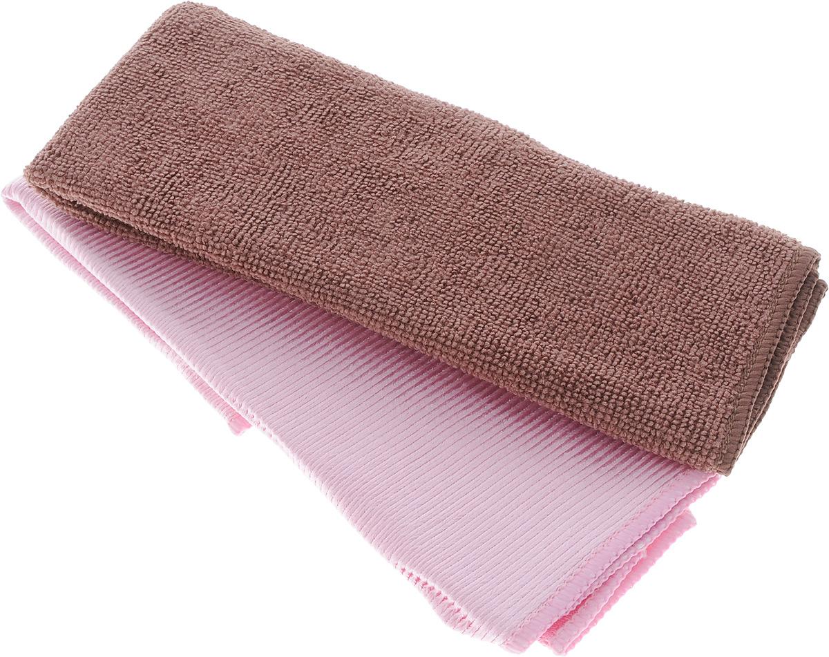 Салфетки для мытья окон Чистюля, цвет: розовый, коричневый, 35 х 35 см, 2 штDAVC150Салфетки Чистюля предназначены для мытья окон и зеркал без моющих средств. Микрофибровые нити салфеток состоят из двух полимеров: жилку из полиамида окружают ультратонкие полиэстеровые волокна особой формы. Полиэстер способен поглощать жир, а полиамид хорошо впитывает воду. Кроме того, синтетические волокна при трении создают статическое электричество и притягивают загрязнения. Поэтому два полимера работают как пылесос: притягивают загрязнения и всасывают влагу, жир, грязь и удерживают их в многочисленных микроскопических порах-капиллярах. Объем грязи, которую может впитать и удержать микрофибра, гораздо больше того, который способны захватить обычные салфетки. Салфетки из микрофибры работают без моющих средств и не оставляют разводов. Салфетки очень практичны и неприхотливы в уходе. Можно стирать в стиральной машине при температуре до 60°С.