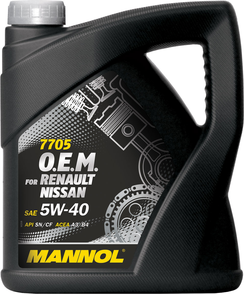 Моторное масло MANNOL 7705 O.E.M. Renault, Nissan, 5W40, синтетическое, 4 лS03301004Mannol 7705 O.E.M. 5W-40 - синтетическое моторное масло нового поколения, предназначенное для двигателей легковых автомобилей RENAULT-NISSAN. Разработано специально для бензиновых и дизельных двигателей (без DPF) с системами непосредственного впрыска, с турбонаддувом или без него. Обладает высокими антиокислительными свойствами и превосходными моюще-диспергирующими характеристиками, что предупреждает образование отложений на деталях двигателя. Обеспечивает легкий пуск двигателя при низких температурах. Применимо при любых условиях эксплуатации (езда по городу, автостраде и автомагистрали), в том числе и в экстремальных условиях. Создано специально для выполнения требований производителей двигателей Renault/Nissan/Infinity по увеличению интервалов замены масла. Продукт имеет допуски / соответствует спецификациям / продуктам:SAE 5W-40API SN/CFACEA A3/B4MB 229.3PORSCHE A40VW 502.00/505.00OPEL GM-LL-A/B-025RENAULT RN 0700/0710NISSAN/INFINITI