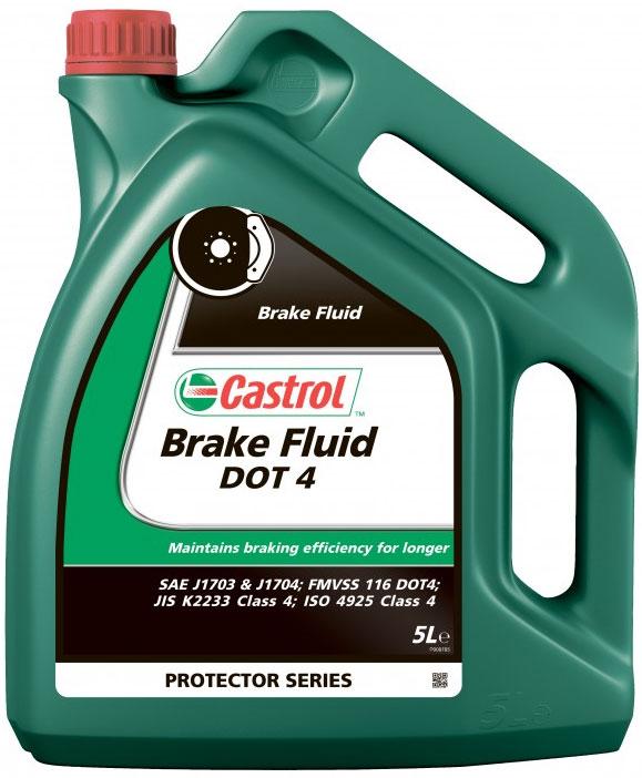Тормозная жидкость Castrol Brake Fluid DOT4, 5 лRC-100BWCОписаниеCastrol Brake Fluid DOT4 - высококипящая тормозная жидкость, превышающая требования спецификаций SAEJ1703,SAE J1704, FMVSS 116 DOT 4 , ISO 4925 и Jis K 2233.Castrol Brake Fluid DOT4 предназначена для применения во всех тормозных системах, в особенности частоподвергающимся высоким нагрузкамПрименениеПродукт состоит из смеси полиалкиленгликолевых эфиров и борсодержащих сложных эфиров в сочетании свысокоэффективными присадками и ингибиторами, обеспечивающими превосходную защиту от коррозии иперпятствующими образованию паровых пробок при высокой температуре.Композиция жидкости разработана так, что температура кипения этой жидкости достигает гораздо более высокихзначений по сравнению с традиционными тормозными жидкостями на основе эфиров гликолей в течение периодаиспользования продукта.Castrol Brake Fluid DOT 4 полностью совместима с другими жидкостями соответствующими спецификациям FMVSS116 DOT 3, DOT 4 и DOT 5.1. Тем не менее, для того, чтобы сохранить исключительные эксплуатационныехарактеристики этого продукта, избегайте смешения с другими тормозными жидкостями.Все обычные тормозные жидкости разрушаются во время использования. Настоятельно рекомендуется менятьCastrol Brake Fluid DOT 4 в соответствии с предписаниями производителей техники. В случае отсутствияпредписаний, жидкость рекомендуется менять раз в 2 года.Условия примененияТормозная жидкость Castrol Brake Fluid DOT 4 не должна использоваться в тормозных системах, в которыхпредписаны жидкости на минеральной основе (например, некоторые системы Citroen, для которых подходитCastrol LHM, и Rolls Royce, где одобрен к применению продукт Castrol HSMO Plus).Как и со всеми тормозными жидкостями, содержащими гликолевые эфиры, будьте осторожны и избегайте проливаэтого продукта на окрашенную поверхность, т.к. это может привести к повреждению краски. В случае проливанемедленно промойте водой зону поражения. Не вытирать.СпецификацииJASO JIS K2233SAE J1703J17044