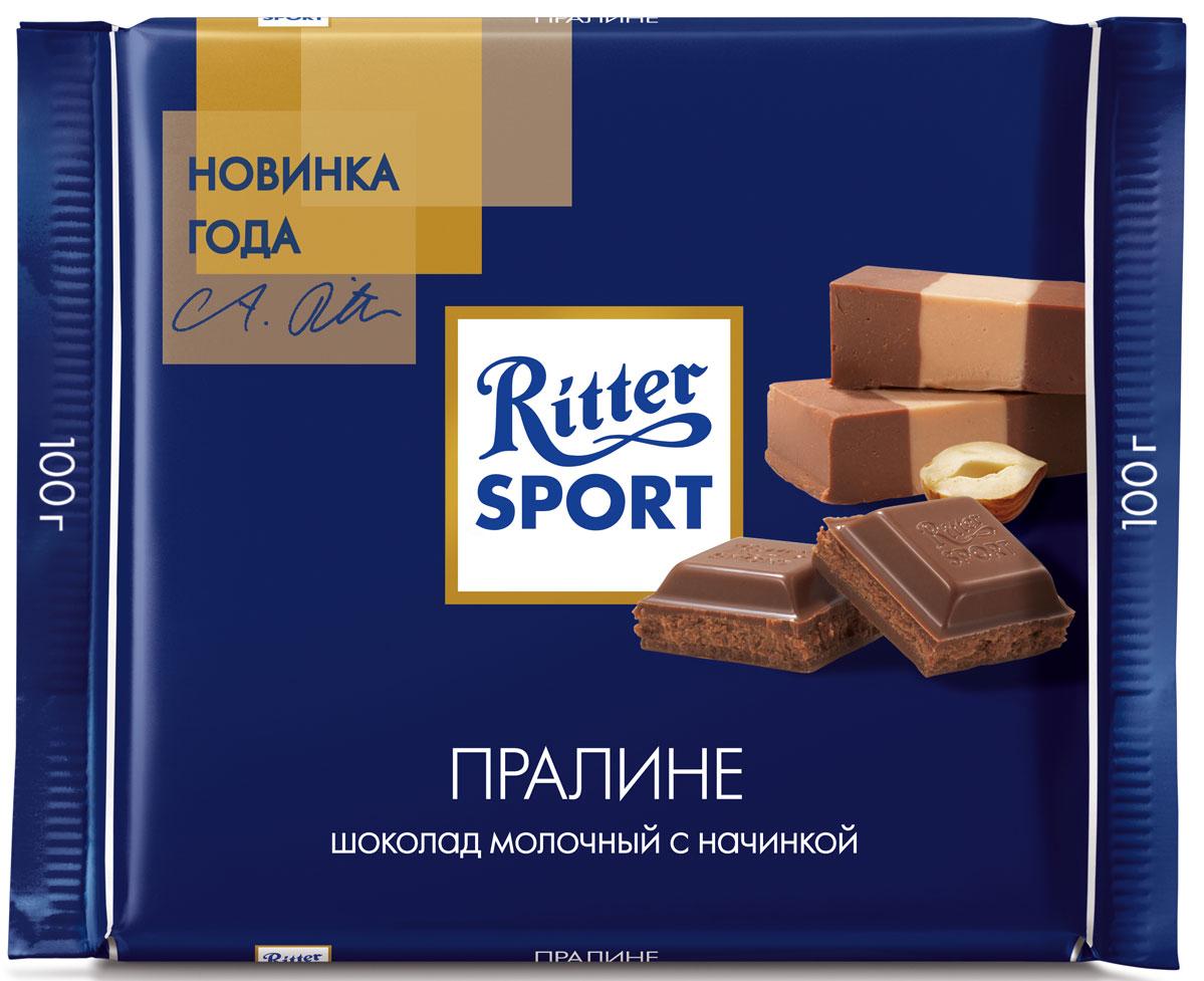 Ritter Sport Пралине Шоколад молочный с пралиновой начинкой, 100 г4000417026002Молочный шоколад с пралиновой начинкой.Пищевая ценность на 100 г: белки - 7 г, углеводы - 53 г, жиры - 35 г, в том числе насыщенные жирные кислоты - 14,53 г, в том числе трансизомеры ненасыщенных жирных кислот - 0,14 г.