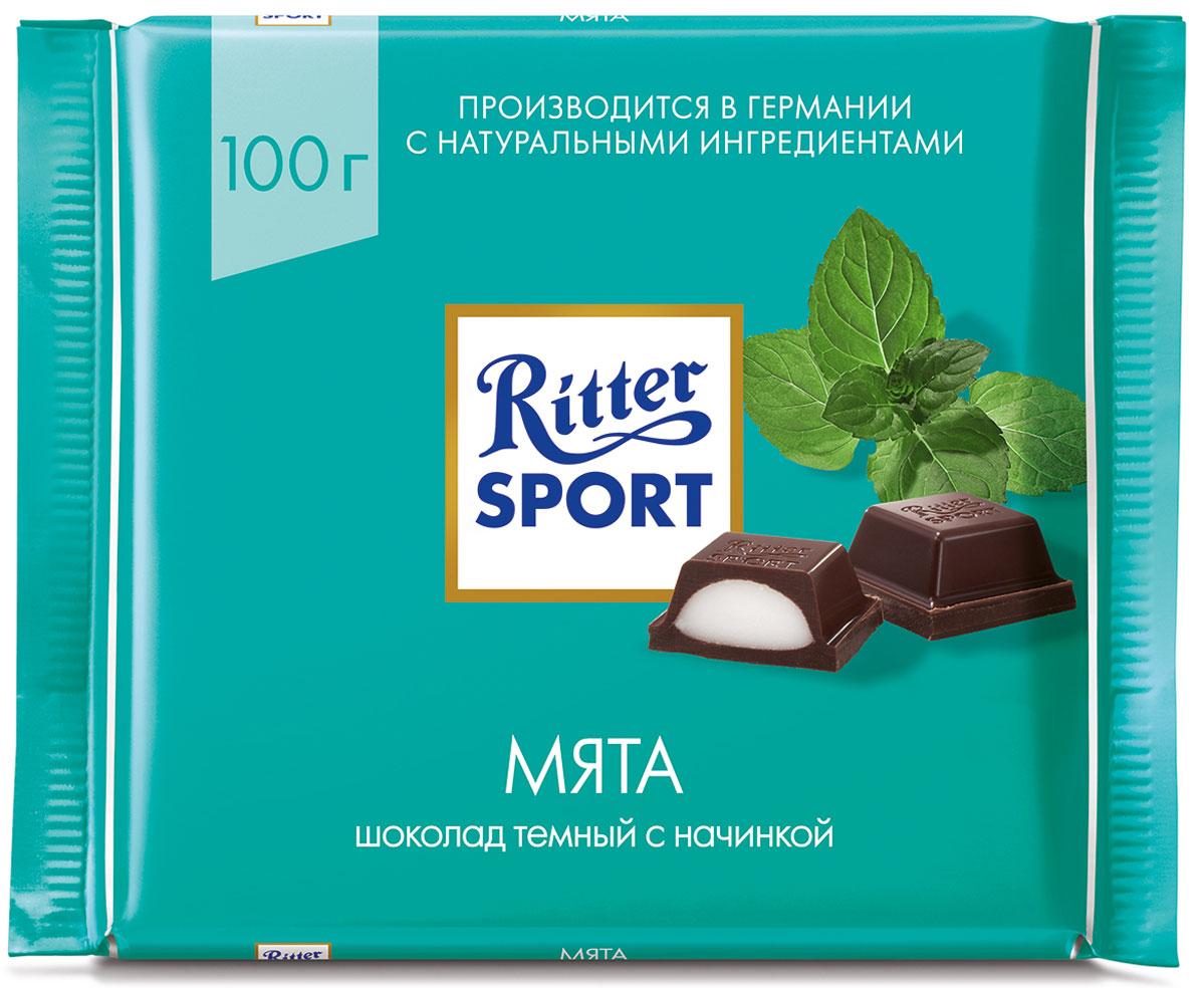 Ritter Sport Мята шоколад темный с мятной начинкой, 100 г0120710Мятная начинка в тесном шоколаде. Пищевая ценность на 100 г: белки - 4 г, углеводы - 58 г, жиры - 27 г, в том числе насыщенные жирные кислоты - 17,85 г, в том числе трансизомеры ненасыщенных жирных кислот - 0,06 г.