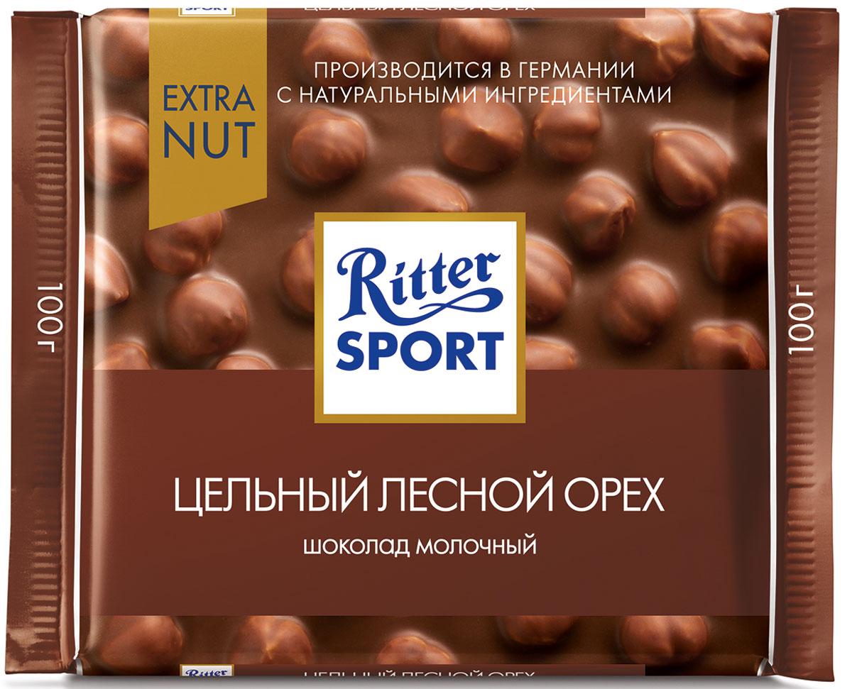 Ritter Sport Цельный лесной орех Шоколад молочный с цельным обжаренным орехом лещины, 100 г0120710Еще больше орехов в любимом вкусе Ritter Sport.Пищевая ценность на 100 г: белки - 9 г, углеводы - 46 г, жиры - 39 г, в том числе насыщенные жирные кислоты - 15,6 г, в том числе трансизомеры ненасыщенных жирных кислот - 0,17 г.
