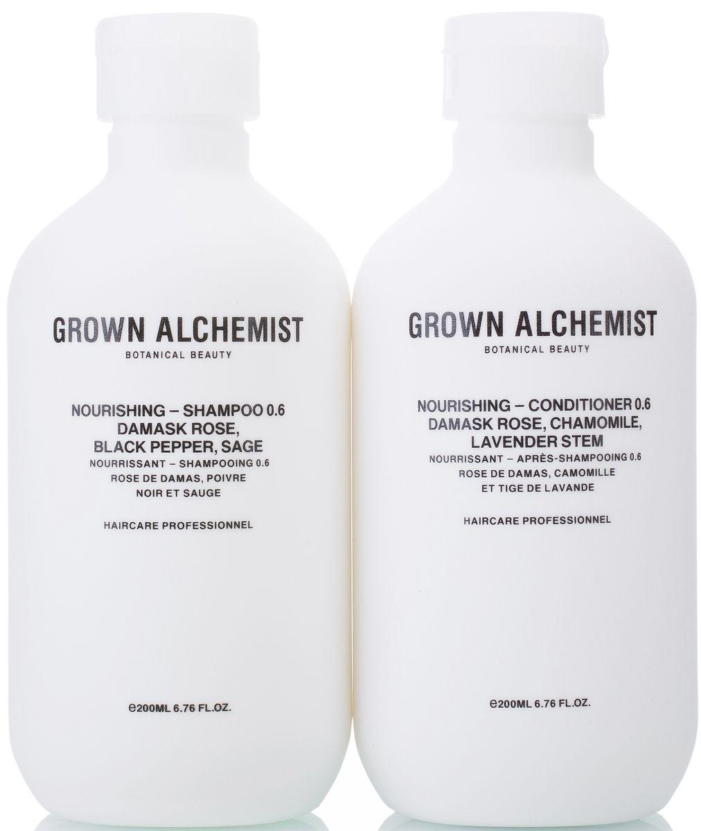 Grown Alchemist Набор для волос Питательный: кондиционер, шампунь, 2 х 200 млперфорационные unisexВ набор входит: Питательный шампунь 200 мл, Питательный кондиционер 200 мл