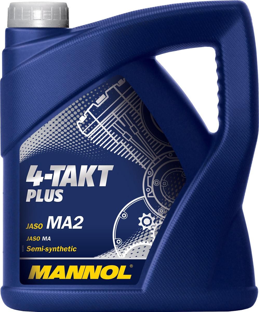 Масло моторное MANNOL 4-Takt Plus, полусинтетическое, 4 л790009Моторное масло Mannol 4-Takt Plus - высокоэффективное полусинтетическое масло, предназначенное для смазки четырехтактных двигателей современных мотоциклов, квадроциклов, скутеров и прочей мототехники с воздушным или водяным охлаждением. Пакет синтетических компонентов обеспечивает максимальную защиту от износа и задира стенок цилиндров при экстремальных нагрузках двигателя. Обеспечивает легкий холодный старт. Продукт имеет допуски / соответствует спецификациям / продуктам: JASO MA/MA2.Вязкость при 100°C: 12,8 CSt.Вязкость при 40°C: 83,7 CSt.Вязкость при -25°C: 6000 CP.Индекс вязкости: 151.Плотность при 15°C: 880 kg/m3.Температура вспышки COC: 222 °C.Температура застывания: -30 °C.Товар сертифицирован.