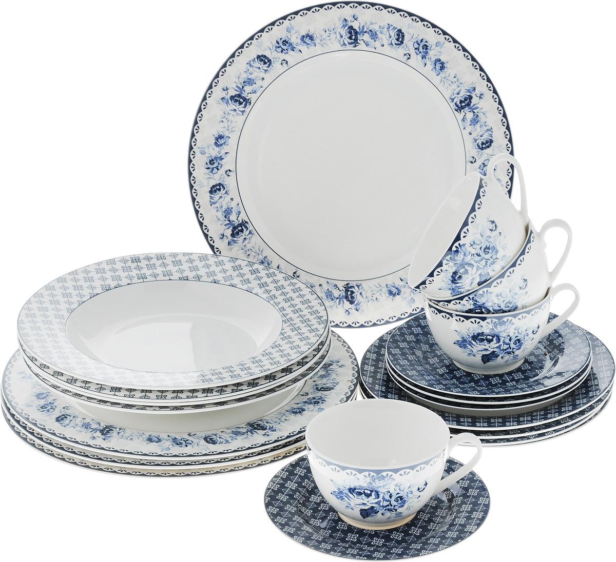Набор столовой посуды Синие цветы, 20 предметов. 15-33554 009312Набор столовой посуды Синие цветы состоит из 4 обеденных тарелок, 4 суповых тарелок, 4 десертных тарелок, 4 блюдец и 4 чашек. Изделия выполнены из фарфора и дополнены изысканным цветочным рисунком в стиле гжель. Посуда отличается прочностью, гигиеничностью и долгим сроком службы, она устойчива к появлению царапин. Такой набор прекрасно подойдет как для повседневного использования, так и для праздников или особенных случаев. Такой набор столовой посуды - это не только яркий и полезный подарок для родных и близких, а также великолепное дизайнерское решение для вашей кухни или столовой. Можно использовать в микроволновой печи и мыть в посудомоечной машине. Диаметр суповой тарелки: 23 см. Высота суповой тарелки: 3 см.Диаметр обеденной тарелки: 27 см. Диаметр десертной тарелки: 19 см. Диаметр блюдца: 15,5 см. Объем чашки: 250 мл.Диаметр чашки (по верхнему краю): 9,5 см.Высота чашки: 6 см.