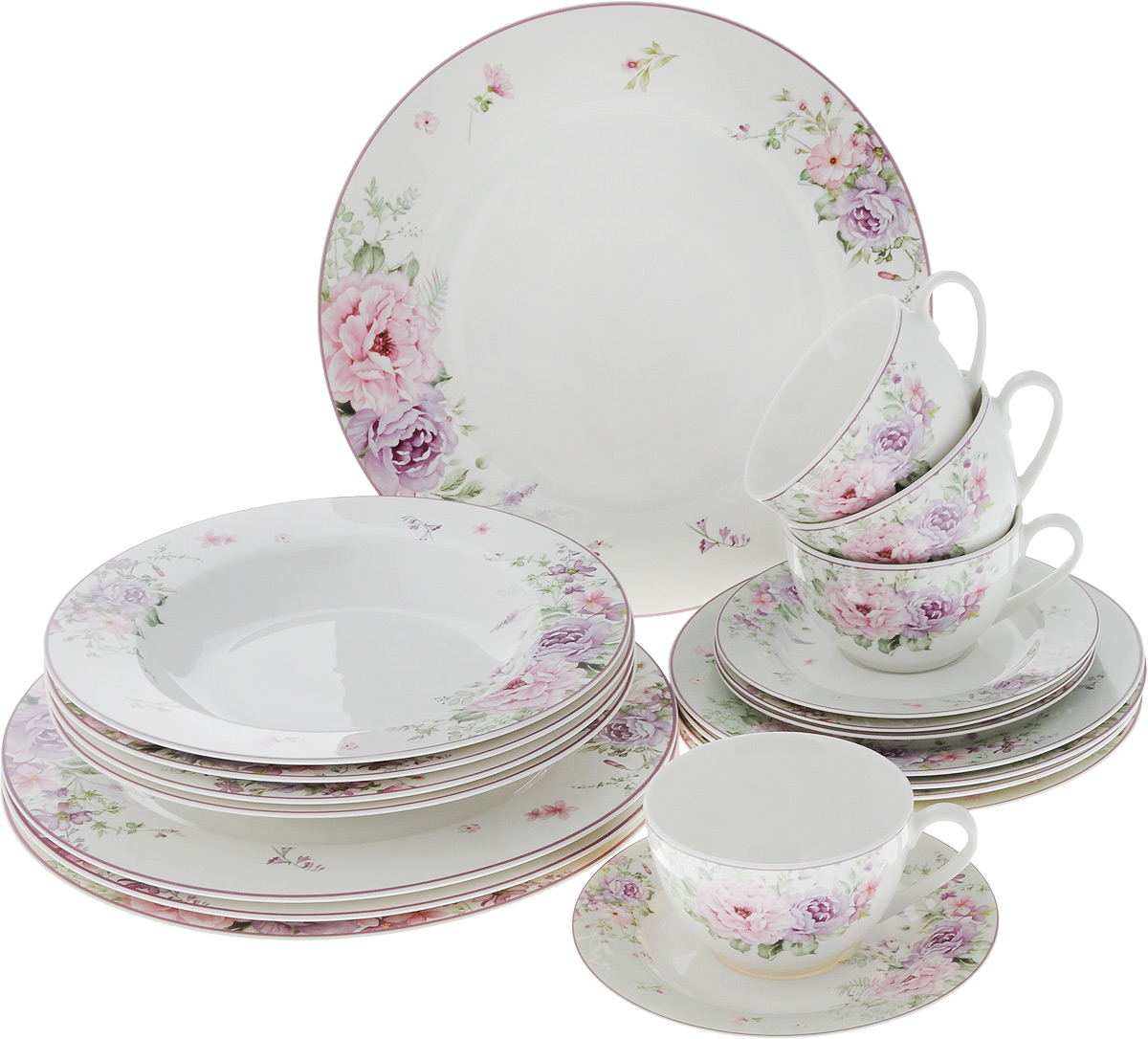 Набор столовой посуды Сиреневые цветы, 20 предметов. 16-33654 009312Набор столовой посуды Сиреневые цветы состоит из 4 обеденных тарелок, 4 суповых тарелок, 4 десертных тарелок, 4 блюдец и 4 чашек. Изделия выполнены из фарфора и дополнены изысканным цветочным рисунком. Посуда отличается прочностью, гигиеничностью и долгим сроком службы, она устойчива к появлению царапин. Такой набор прекрасно подойдет как для повседневного использования, так и для праздников или особенных случаев. Такой набор столовой посуды - это не только яркий и полезный подарок для родных и близких, а также великолепное дизайнерское решение для вашей кухни или столовой. Можно использовать в микроволновой печи и мыть в посудомоечной машине. Диаметр суповой тарелки: 23 см. Высота суповой тарелки: 3 см.Диаметр обеденной тарелки: 27 см. Диаметр десертной тарелки: 19 см. Диаметр блюдца: 15,5 см. Объем чашки: 250 мл.Диаметр чашки (по верхнему краю): 9,5 см.Высота чашки: 6 см.