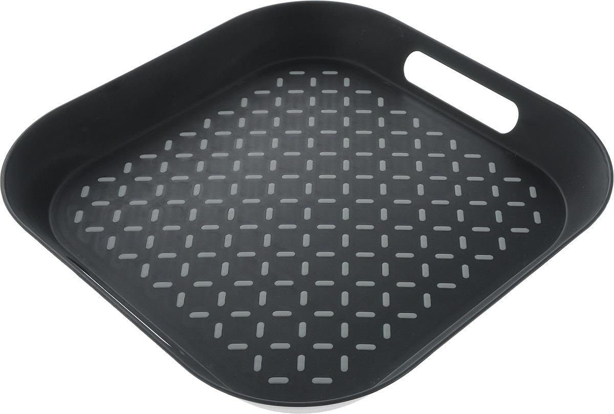 Поднос Zeller, цвет: черный, серый, 34 х 34 х 4,3 см26678_черный/серыйОригинальный поднос Zeller, изготовленный из прочного пищевого пластика, станет незаменимым предметом для сервировки стола. Изделие снабжено специальными прорезиненными вставками, которые предотвращают скольжение посуды. Основание подноса также имеет резиновые вставки. Для удобства переноски предусмотрены удобные ручки и высокие бортики. Такой поднос станет полезным и практичным приобретением для вашей кухни.