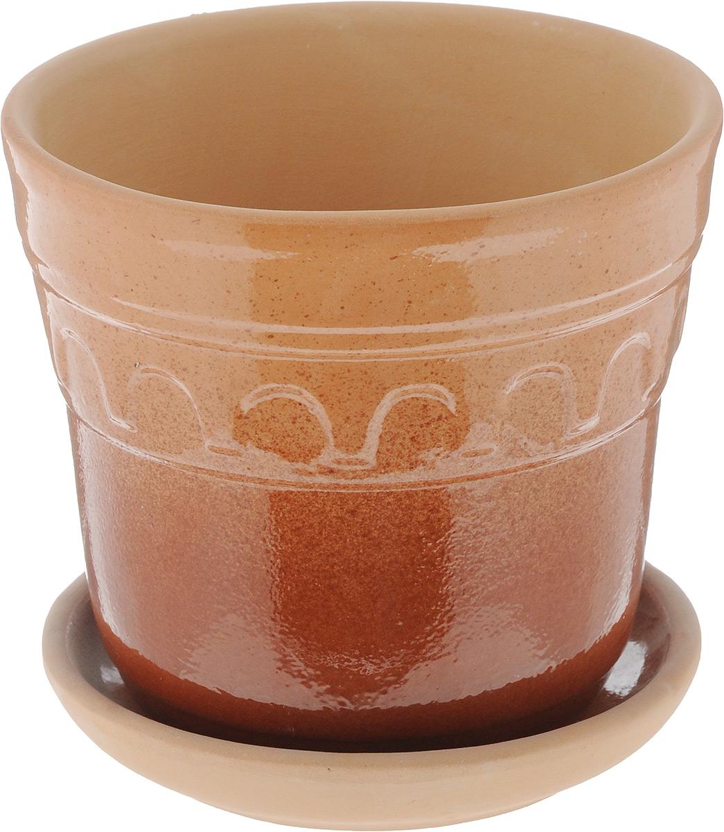 Горшок для цветов Ломоносовская керамика Элин, цвет: коричневый, бежевый, диаметр 14 см1717698Горшок с поддоном Ломоносовская керамика Элин выполнен из керамики. Внешние стенки изделия покрыты глазурью и дополнены рельефным узором. Горшок предназначен для выращивания цветов, растений и трав. Он порадует вас функциональностью, а также украсит интерьер помещения. Диаметр горшка (по верхнему краю): 14 см. Высота горшка: 11,5 см. Размер поддона: 12 х 12 х 3 см.