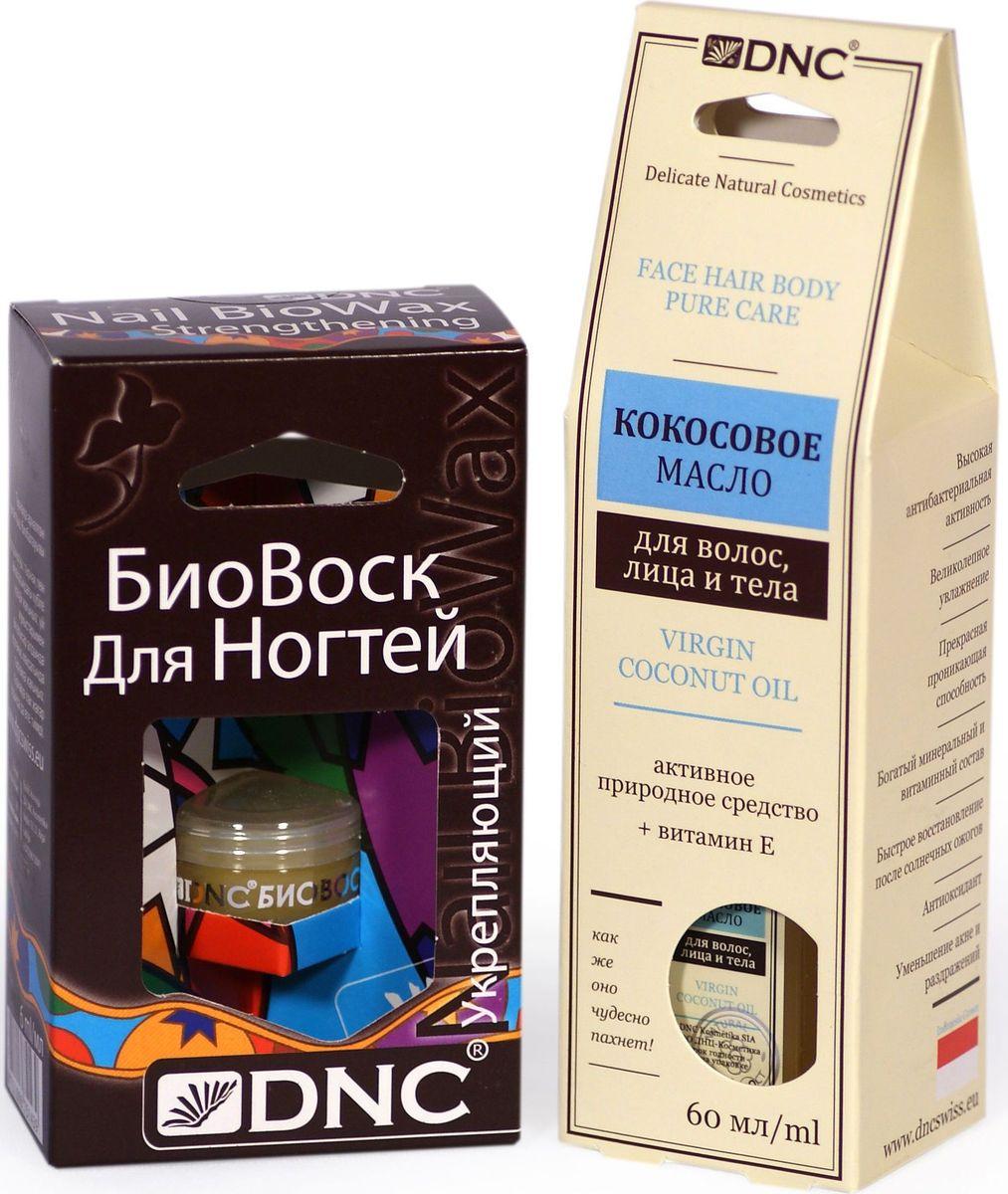 DNC Набор: Кокосовое масло, 60 мл, биовоск укрепляющий, 6 мл4751006754263Масло кокосовое Нежное и ароматное масло для лица, тела и волос. Использовать кокосовое масло для лица можно, как дневной крем для сухой кожи или ночной восстанавливающий для возрастной кожи любого типа. Кокосовое масло значительно снижает потерю протеинов волос, ведущую к сечению и повреждению их структуры. Многие используют кокосовое масло в качестве деликатного средства для бритья, вместо пены или геля. Увлажняет и смягчает кожу рук и ног, способствует заживлению трещин. Подходит для всех видов массажа. Биовоск для ногтей укрепляющий Тщательно подобранная композиция комплексного действия из пчелиного воска и активных масел. Создает и поддерживает тонкую и естественную для кожи и ногтевой пластины защиту. Процесс укрепления и формирования здоровых ногтей и кутикул проходит значительно быстрее. Масла питают ногти, способствуют смягчению кутикул и заживлению ранок вокруг ногтей.