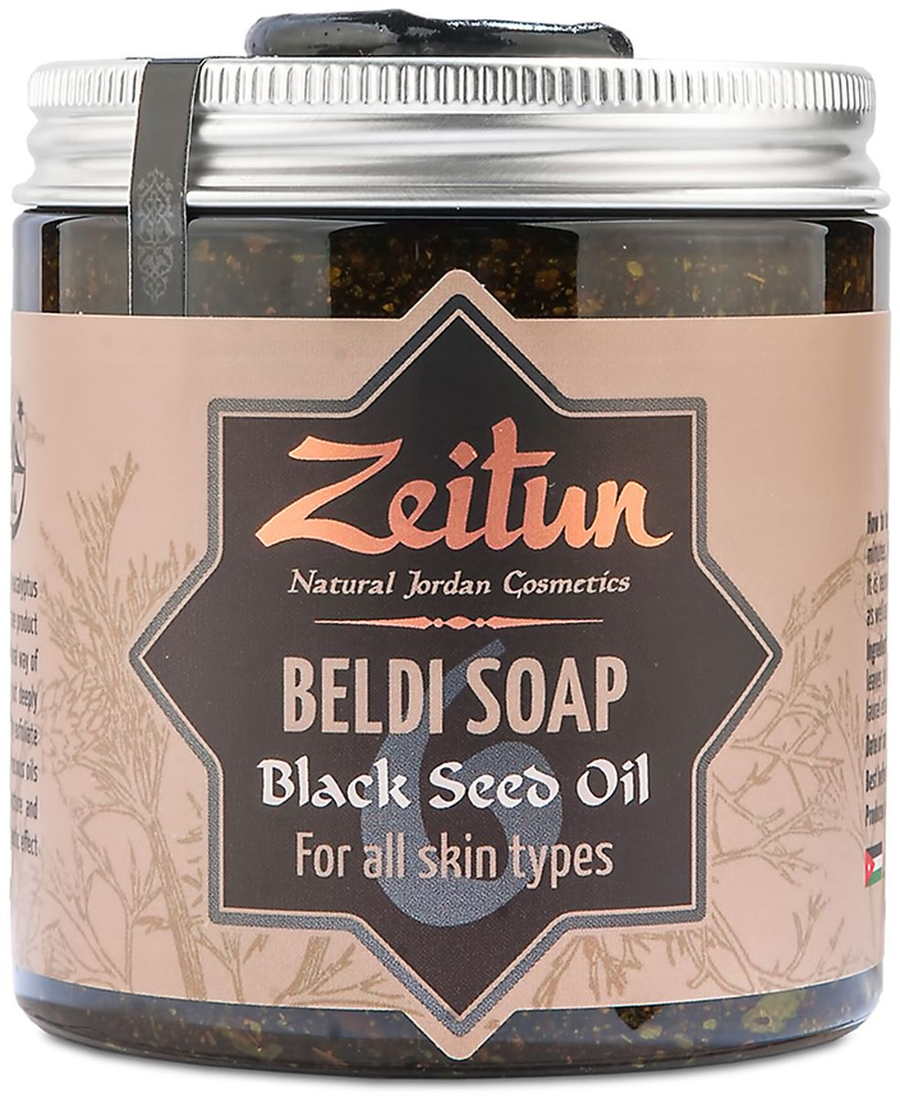 Зейтун Мыло Деревенское №6 с чёрным тмином, 250 мл9Это мыло идеально для чувствительной кожи, склонной к сухости и высыпаниям. Живительный коктейль из масел и трав окажет успокаивающее и омолаживающее действие, нежная текстура мыла удалит отмершие клетки и сделает кожу мягкой, сияющей и увлажненной. После такого питательного мыла кожа останется довольна и не потребует дополнительного питания в виде, например, крема. Также благодаря свойствам масла черного тмина это мыло подойдёт и для жирной кожи.