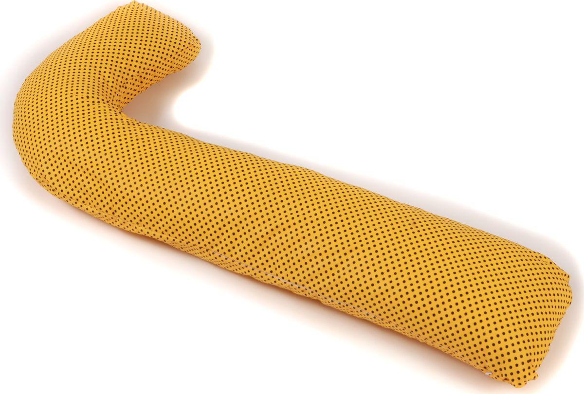 Body Pillow Наволочка для L-образной подушки цвет желтый черный 75 х 150 см132/4Съемная наволочка на молнии из 100% хлопка яркая с рисунком черного гороха на желтом фоне.