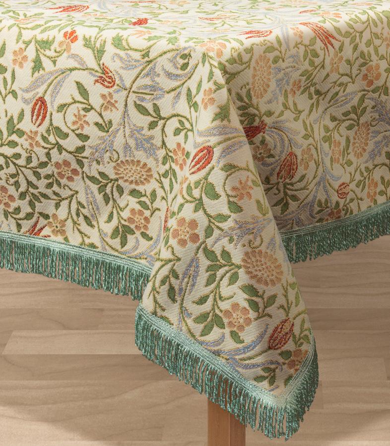 Скатерть Les Gobelins Muse, прямоугольная, 150 х 190 смVT-1520(SR)Прямоугольная скатерть Les Gobelins Muse с ярким цветочным рисунком привлечет к себе внимание и органично впишется в интерьер комнаты. Изделие изготовлено из высококачественной ткани гобелен и оформлено бахромой и кисточками. Необычайная красота сочетается в этой скатерти с высокой прочностью и долговечностью, а свойство гобелена по-разному проявлять себя в зависимости от освещения помещения позволяет открывать все новые и новые детали, которые, как казалось, раньше скрывал гобелен.Красочная и приятная на ощупь скатерть сделает любое застолье торжественным, а интерьер - уютным и своеобразным.Расположение рисунка на скатерти соответствует фотографии.Состав материала:52% хлопок, 48% полиэстер.
