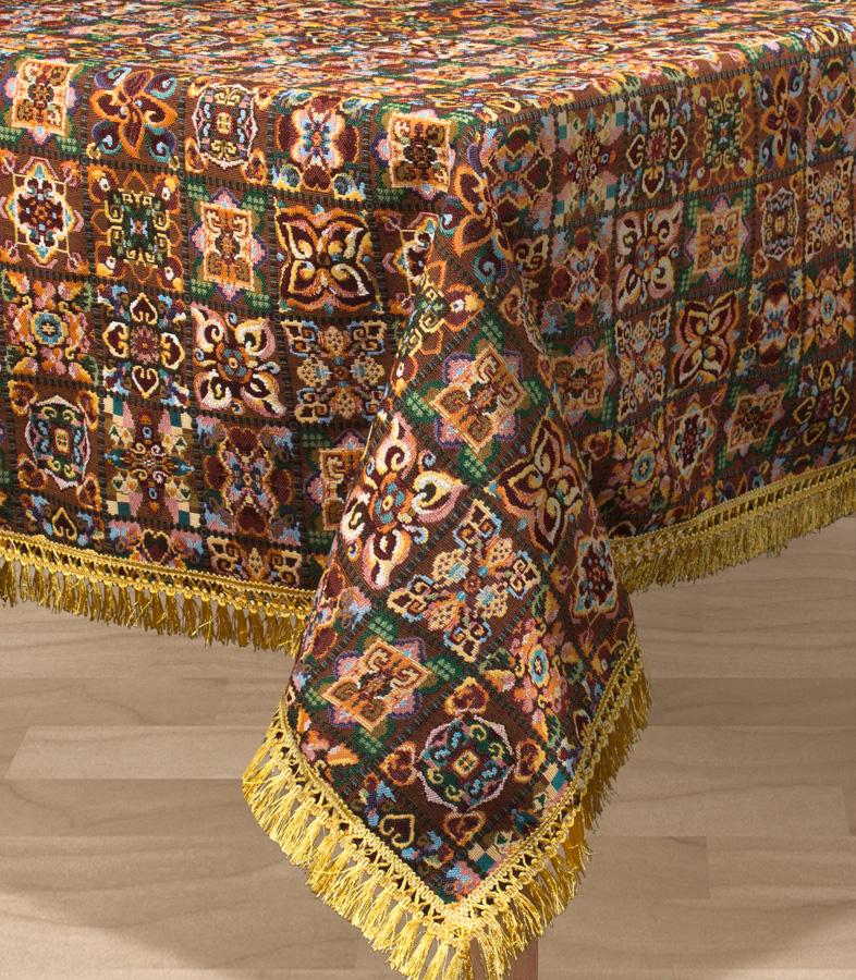 Скатерть Les Gobelins Mosaique De Fleurs, прямоугольная, 150 х 190 см4630003364517Прямоугольная скатерть Les Gobelins Mosaique De Fleurs с ярким рисунком привлечет к себе внимание и органично впишется в интерьер комнаты. Изделие изготовлено из высококачественной ткани гобелен и оформлено бахромой и кисточками. Необычайная красота сочетается в этой скатерти с высокой прочностью и долговечностью, а свойство гобелена по-разному проявлять себя в зависимости от освещения помещения позволяет открывать все новые и новые детали, которые, как казалось, раньше скрывал гобелен.Красочная и приятная на ощупь скатерть сделает любое застолье торжественным, а интерьер - уютным и своеобразным.Расположение рисунка на скатерти соответствует фотографии.Состав материала:49% хлопок, 51% полиэстер.