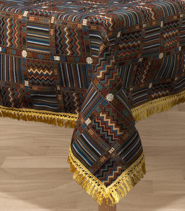 Скатерть Les Gobelins Mexique, прямоугольная, 150 х 190 смCLP446Прямоугольная скатерть Les Gobelins Mexique с ярким геометрическим рисунком привлечет к себе внимание и органично впишется в интерьер комнаты. Изделие изготовлено из высококачественной ткани гобелен и оформлено бахромой и кисточками. Необычайная красота сочетается в этой скатерти с высокой прочностью и долговечностью, а свойство гобелена по-разному проявлять себя в зависимости от освещения помещения позволяет открывать все новые и новые детали, которые, как казалось, раньше скрывал гобелен.Красочная и приятная на ощупь скатерть сделает любое застолье торжественным, а интерьер - уютным и своеобразным.Расположение рисунка на скатерти соответствует фотографии.Состав материала:60% хлопок, 40% полиэстер.