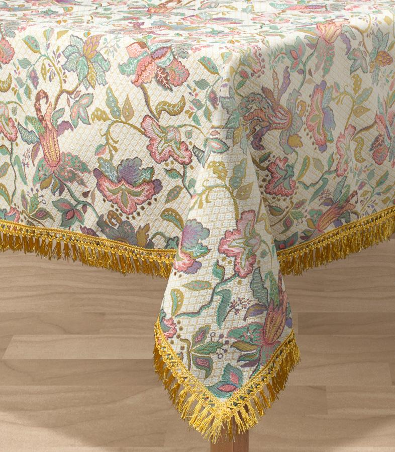 Скатерть Les Gobelins Loche, прямоугольная, 150 х 190 смVT-1520(SR)Прямоугольная скатерть Les Gobelins Loche с ярким рисунком привлечет к себе внимание и органично впишется в интерьер комнаты. Изделие изготовлено из высококачественной ткани гобелен и оформлено бахромой и кисточками. Необычайная красота сочетается в этой скатерти с высокой прочностью и долговечностью, а свойство гобелена по-разному проявлять себя в зависимости от освещения помещения позволяет открывать все новые и новые детали, которые, как казалось, раньше скрывал гобелен.Красочная и приятная на ощупь скатерть сделает любое застолье торжественным, а интерьер - уютным и своеобразным.Расположение рисунка на скатерти соответствует фотографии.Состав материала:52% хлопок, 48% полиэстер.