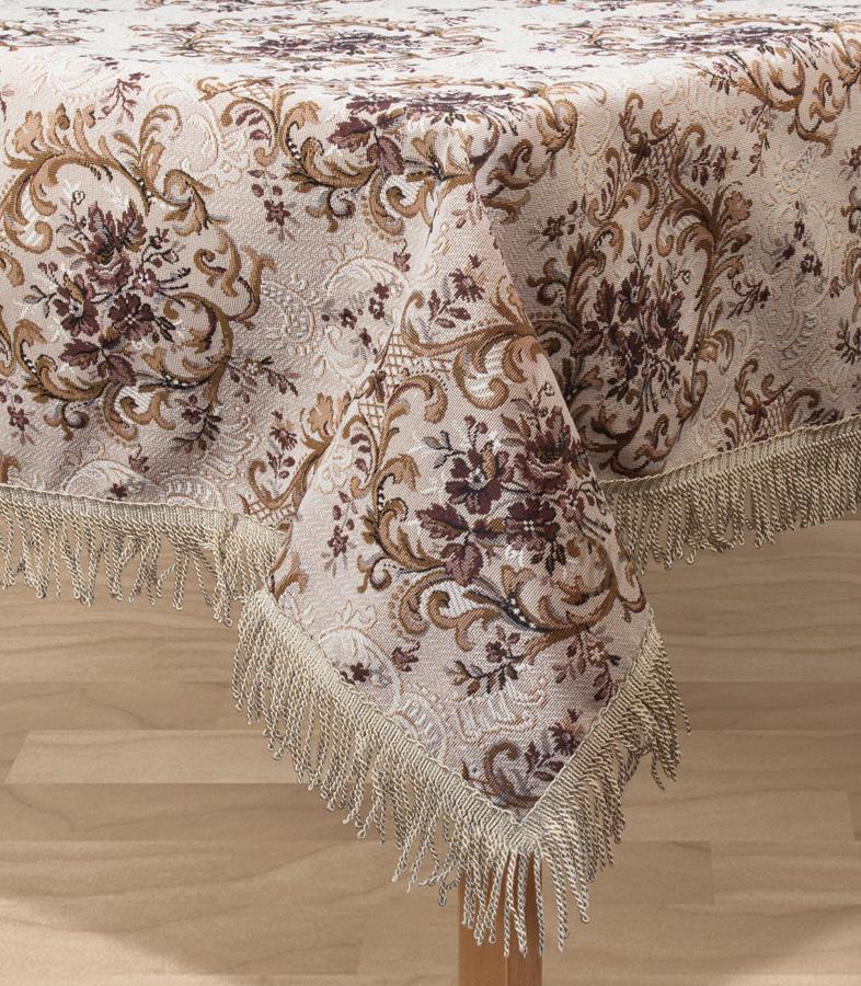 Скатерть Les Gobelins Francais, прямоугольная, 150 х 190 смCLP446Прямоугольная скатерть Les Gobelins Francais с ярким цветочным рисунком привлечет к себе внимание и органично впишется в интерьер комнаты. Изделие изготовлено из высококачественной ткани гобелен и оформлено бахромой и кисточками. Необычайная красота сочетается в этой скатерти с высокой прочностью и долговечностью, а свойство гобелена по-разному проявлять себя в зависимости от освещения помещения позволяет открывать все новые и новые детали, которые, как казалось, раньше скрывал гобелен.Красочная и приятная на ощупь скатерть сделает любое застолье торжественным, а интерьер - уютным и своеобразным.Расположение рисунка на скатерти соответствует фотографии.Состав материала:50% хлопок, 50% полиэстер.