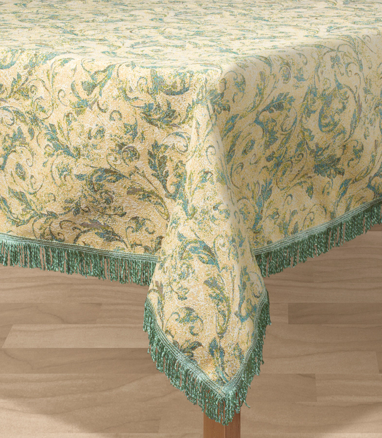 Скатерть Les Gobelins Jeune Verdure, прямоугольная, 150 х 190 смVT-1520(SR)Прямоугольная скатерть Les Gobelins Jeune Verdure с ярким рисунком привлечет к себе внимание и органично впишется в интерьер комнаты. Изделие изготовлено из высококачественной ткани гобелен и оформлено бахромой и кисточками. Необычайная красота сочетается в этой скатерти с высокой прочностью и долговечностью, а свойство гобелена по-разному проявлять себя в зависимости от освещения помещения позволяет открывать все новые и новые детали, которые, как казалось, раньше скрывал гобелен.Красочная и приятная на ощупь скатерть сделает любое застолье торжественным, а интерьер - уютным и своеобразным.Расположение рисунка на скатерти соответствует фотографии.Состав материала:52% хлопок, 48% полиэстер.