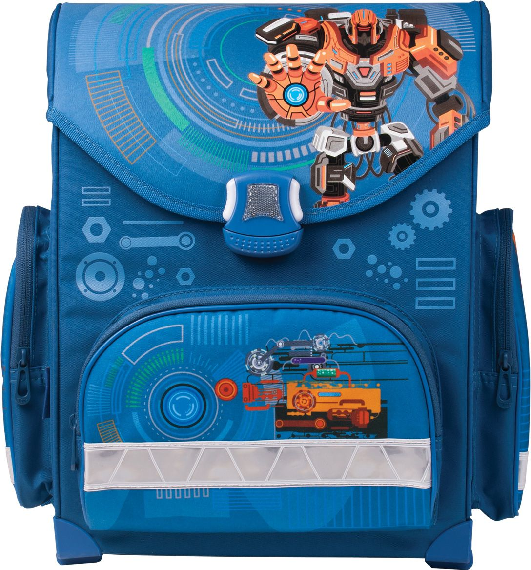 Tiger Enterprise Ранец школьный Робот225542Ранец школьный Tiger Enterprise Робот - легкий, удобный и вместительный. Анатомически правильная вентилируемая спинка поддерживает естественное положение позвоночника.Светоотражающие элементы расположены с четырех сторон, чтобы сделать маленького пешехода заметным на дороге. Устойчивое дно изготовлено из немаркого прорезиненного материала и надежно защищает учебники и тетради от намокания. Качественный водоотталкивающий материал не позволяет грязи въедаться, поэтому ранец легко чистить влажной тряпочкой. Ранец имеет одно основное отделение на защелке и три внешних кармана на молниях.Все материалы и красители проверены на отсутствие вредных веществ и аллергенов в соответствии с европейским стандартом качества и безопасности.