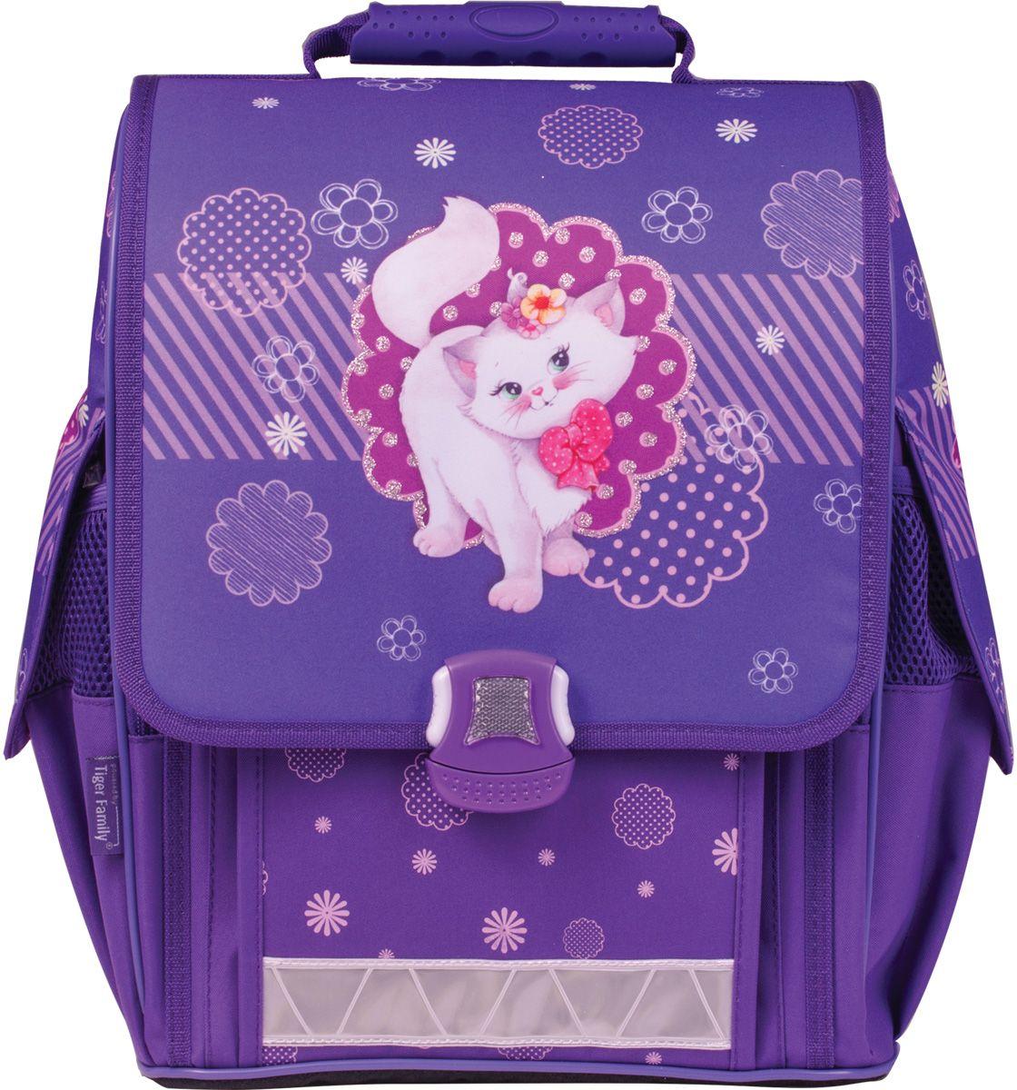 Tiger Enterprise Рюкзак детский Кошечка72523WDАккуратный ранец модного фиолетового цвета с очаровательной кошечкой и искрящимися блестками на клапане обязательно понравится маленьким школьницам. Идеальный ранец для хорошего настроения.
