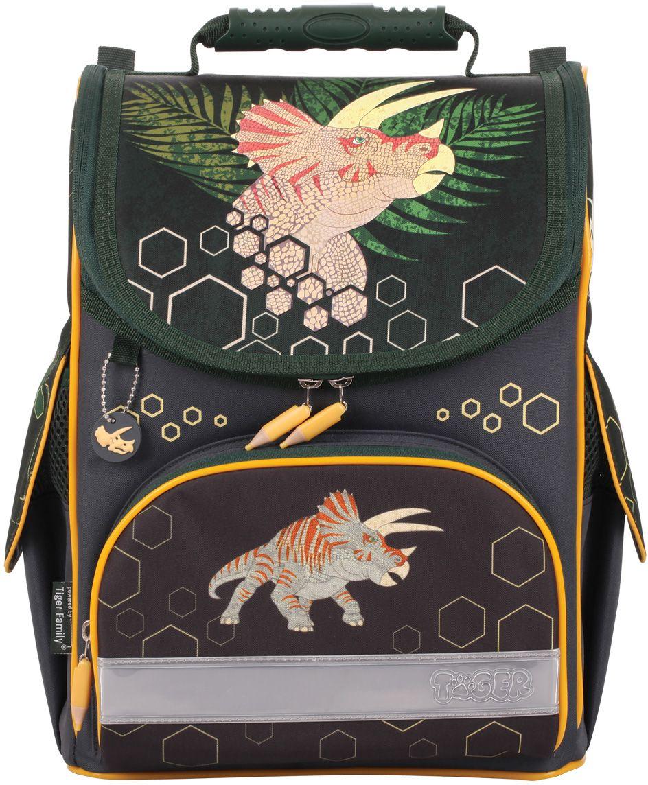 Tiger Enterprise Рюкзак детский Дино72523WDИдеальный ранец для первоклассника. Анатомически правильная вентилируемая спинка и легкая конструкция для здорового роста вашего ребенка. Ранец TIGER FAMILY - школа в радость с первых дней.