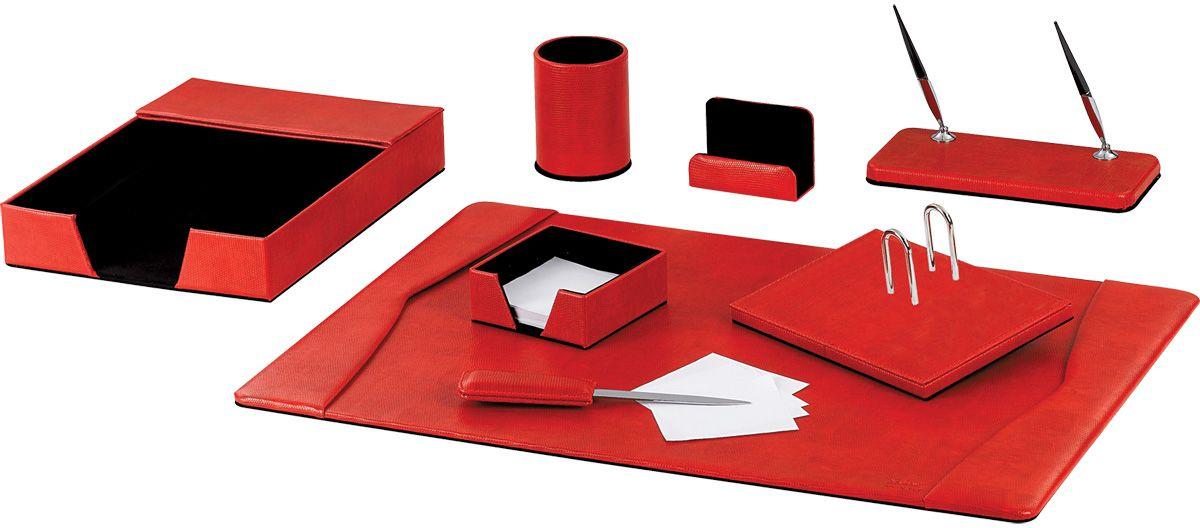 Galant Набор письменных принадлежностей цвет красный 8 предметовC13S041944Настольный набор бизнес-класса эксклюзивного дизайна с покрытием из экокожи красного цвета, имитирующего змеиную кожу. Отлично подходит для подарка женщине-руководителю, коллеге по бизнесу. В набор входят:•Лоток для бумаг. •Стакан для письменных принадлежностей. •Подставка для бумажного блока, размер подставки - 11,5x11,2x4,5 см. •200 листов блока в комплекте. •Подставка для визиток и писем. •Подставка для перекидного календаря. •Подставка для ручек с 2 шариковыми ручками в комплекте. •Настольный коврик для удобства письма. Размер: 64х44 см. •Нож для открывания конвертов.