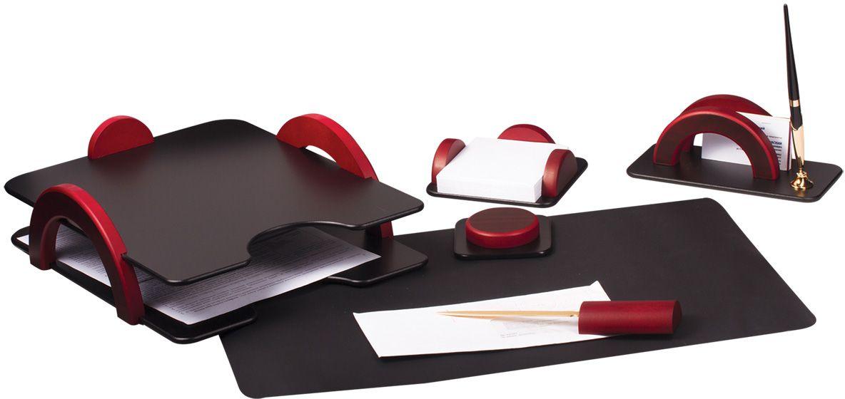 Bestar Набор письменных принадлежностей цвет красное дерево 6 предметовFS-00897Набор изготовлен из дерева с металлическими деталями золотистого цвета. Цвет предметов - комбинация черного и красного цветов. В набор входят:•Двойной лоток для бумаг. •Коврик для письма. •Подставка для бумажного блока. •Подставка для писем и ручки (1 шариковая ручка в комплекте). •Нож для открывания конвертов. •Магнитный диспенсер для скрепок.