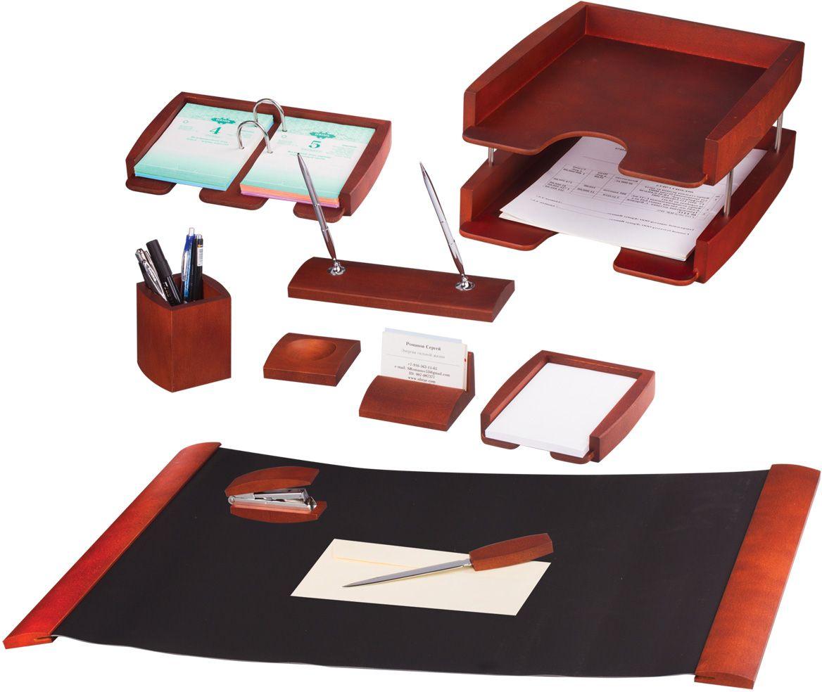 Bestar Набор письменных принадлежностей цвет темная вишня 10 предметовCS-GSA313020Предметы набора изготовлены из дерева, цвет - темная вишня. В набор входят:•Двойной лоток для бумаг. •Стакан для письменных принадлежностей. •Подставка для ручек (2 ручки в комплекте). •Подставка для бумажного блока, размер подставки - 16,2x13,6x2,8 см. •Подставка для визиток. •Подставка для перекидного календаря. •Нож для открывания конвертов. •Диспенсер для скрепок. •Степлер. •Коврик для письма.