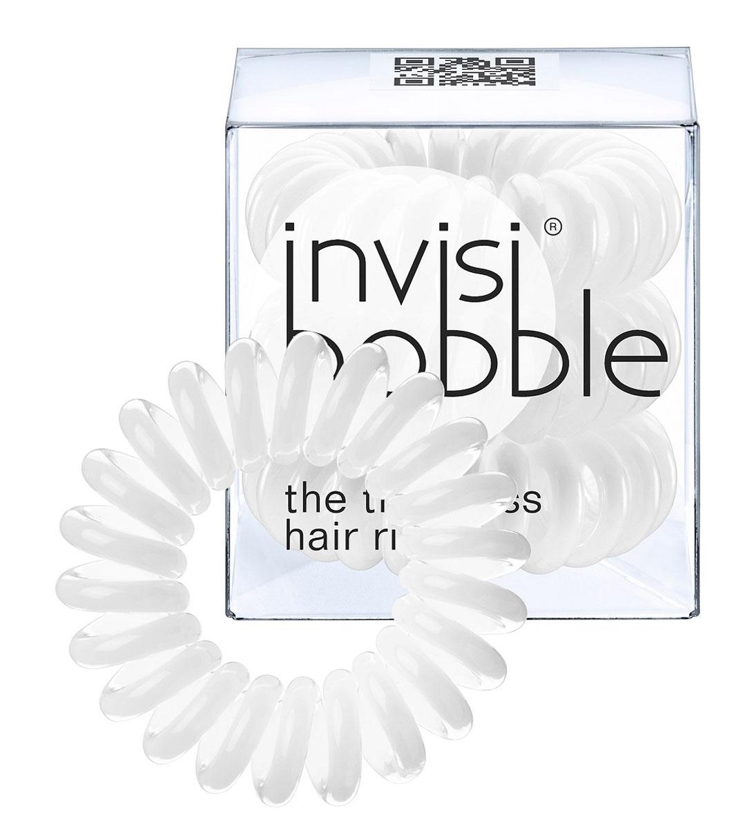 Invisibobble Резинка-браслет для волос Innocent White, 3 штSatin Hair 7 BR730MNОригинальные резинки-браслеты Invisibobble в форме телефонного шнура, созданные в Германии.Резинки-браслеты Invisibobble подходят для всех типов волос, надежно фиксируют прическу, не оставляют заломов и не вызывают головную боль благодаря неравномерному распределению давления на волосы. Кроме того, они не намокают и не вызывают аллергию при контакте с кожей, поскольку изготовлены из искусственной смолы. Резинка-браслет Invisibobble черного цвета.C резинками Invisibobble можно легко создавать разнообразные прически. Резинки прочно держат волосы любой длины, при этом, не стягивая их слишком туго. Телефонный провод позволяет с легкостью и без вреда для волос протягивать пряди под спираль и ослаблять уже закрепленные для придания объема прическе. Invisibobble Original идеально подходят для ежедневного применения.Не комедогенна.