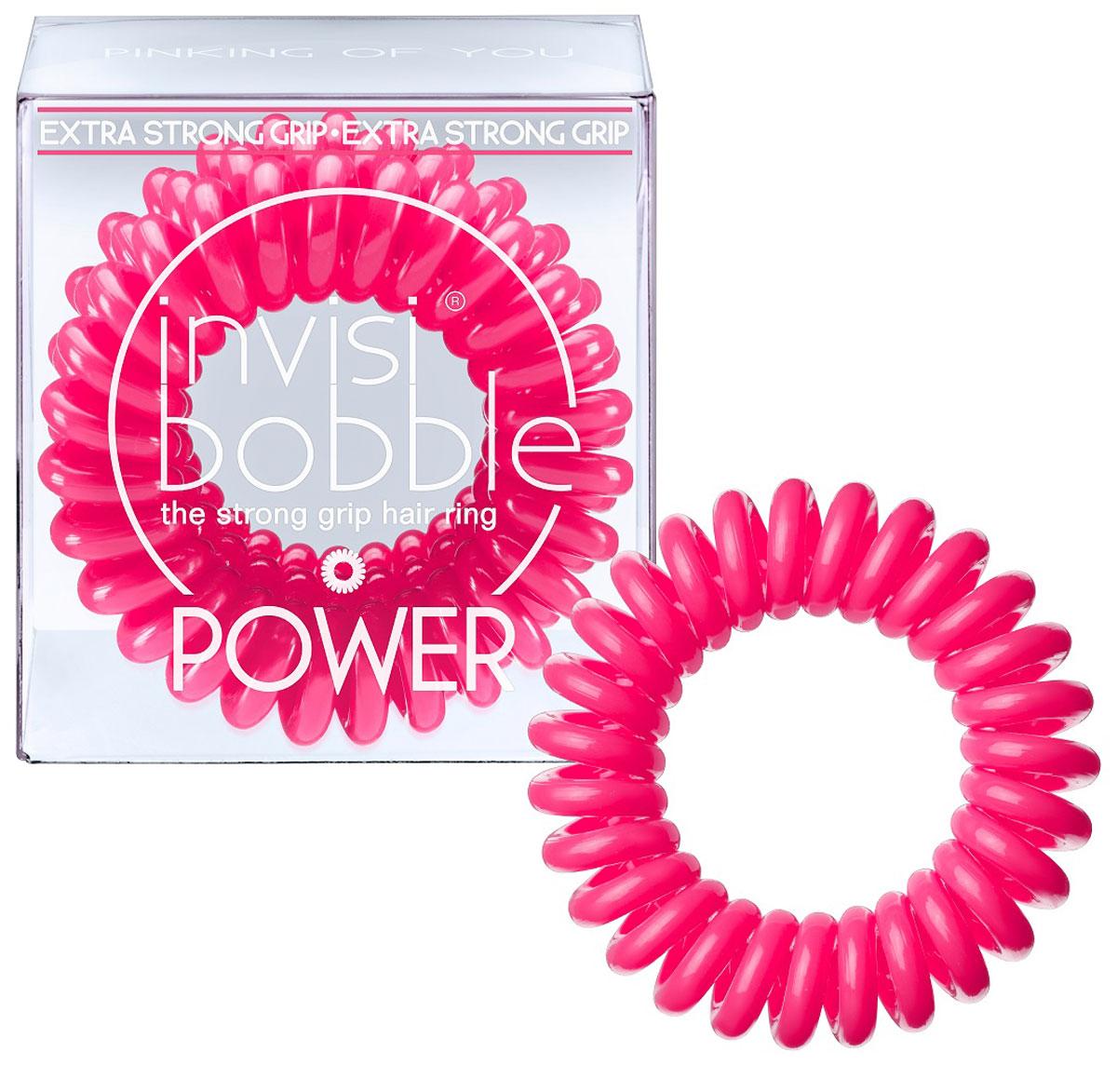 Invisibobble Резинка-браслет для волос Power Pinking of you, 3 шт3054Резиночка invisibobble pinking on you в розовом цвете из коллекции POWER приносит счастье и радость, а заодно привлекает к себе всеобщее внимание. Коллекция invisibobble POWER создана для всех, кто ведет активный образ жизни! Резинки-браслеты invisibobble POWER немного больше в размере, чем invisibobble ORIGINAL, а также имеют более плотные витки. Это позволяет плотно фиксировать волосы во время занятий спортом и активного отдыха. invisibobble POWER также идеальны для густых волос. Резинки-браслеты invisibobble подходят для всех типов волос, надежно фиксируют причёску, не оставляют заломов и не вызывают головную боль благодаря неравномерному распределению давления на волосы. Кроме того, они не намокают и не вызывают аллергию при контакте с кожей, поскольку изготовлены из искусственной смолы.C резинками invisibobble можно легко создавать разные прически. Резинки прочно держат волосы любой длины, при этом не стягивая их слишком туго. Телефонный провод позволяет с легкостью и без вреда для волос протягивать пряди под спираль и ослаблять уже закрепленные для придания объема прическе. Увеличенный размер и более плотные витки invisibobble POWER позволяют прочно закрепить причёску во время занятий спортом, а также идеально подходят для объёмных и густых волос.Не комедогенна.