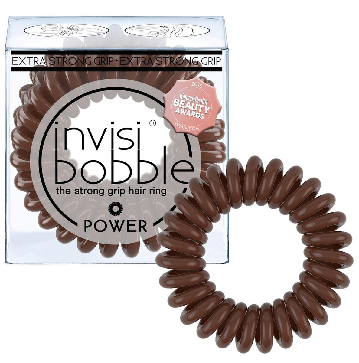 Резинка-браслет для волос Invisibobble Power Pretzel Brown, 3 шт3068Резинки-браслеты invisibobble коричневого цвета Pretzel Brown из обновлённой коллекции POWER идеально подойдут для поклонников классического стиля. Резинки-браслеты invisibobble POWER немного больше в размере, чем invisibobble ORIGINAL, а также имеют более плотные витки. Это позволяет плотно фиксировать волосы во время занятий спортом и активного отдыха. invisibobble POWER также идеальны для густых волос. Резинки-браслеты invisibobble подходят для всех типов волос, надежно фиксируют причёску, не оставляют заломы и не вызывают головную боль благодаря неравномерному распределению давления на волосы. Кроме того, они не намокают и не вызывают аллергию при контакте с кожей, поскольку изготовлены из искусственной смолы.C резинками invisibobble можно легко создавать разные прически. Резинки прочно держат волосы любой длины, при этом не стягивая их слишком туго. Телефонный провод позволяет с легкостью и без вреда для волос протягивать пряди под спираль и ослаблять уже закрепленные для придания объема прическе. Увеличенный размер и более плотные витки invisibobble POWER позволяют прочно закрепить причёску во время занятий спортом, а также идеально подходят для объёмных и густых волос.Не комедогенна.
