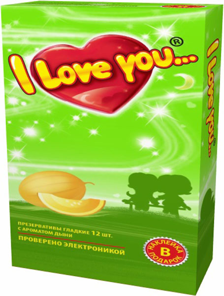 I Love You презервативы с ароматом дыни, 12 штWS 7064Гладкие презервативы нового поколения в силиконовой смазке с накопителем. Произведены из латекса, проверены электроникой. Только для одноразового использования. Презервативы I LOVE YOU при правильном использовании, обеспечивают надёжную защиту от нежелательной беременности и заболеваний передающихся половым путём в том числе и ВИЧ. Ни одно средство предохранения не гарантирует 100% защиты. Перед использованием необходимо ознакомится с инструкцией внутри упаковки. Фасовка презервативов I LOVE YOU № 12: в одном блоке (шоу-боксе) 12 упаковок, в каждой упаковке 12 презервативов.
