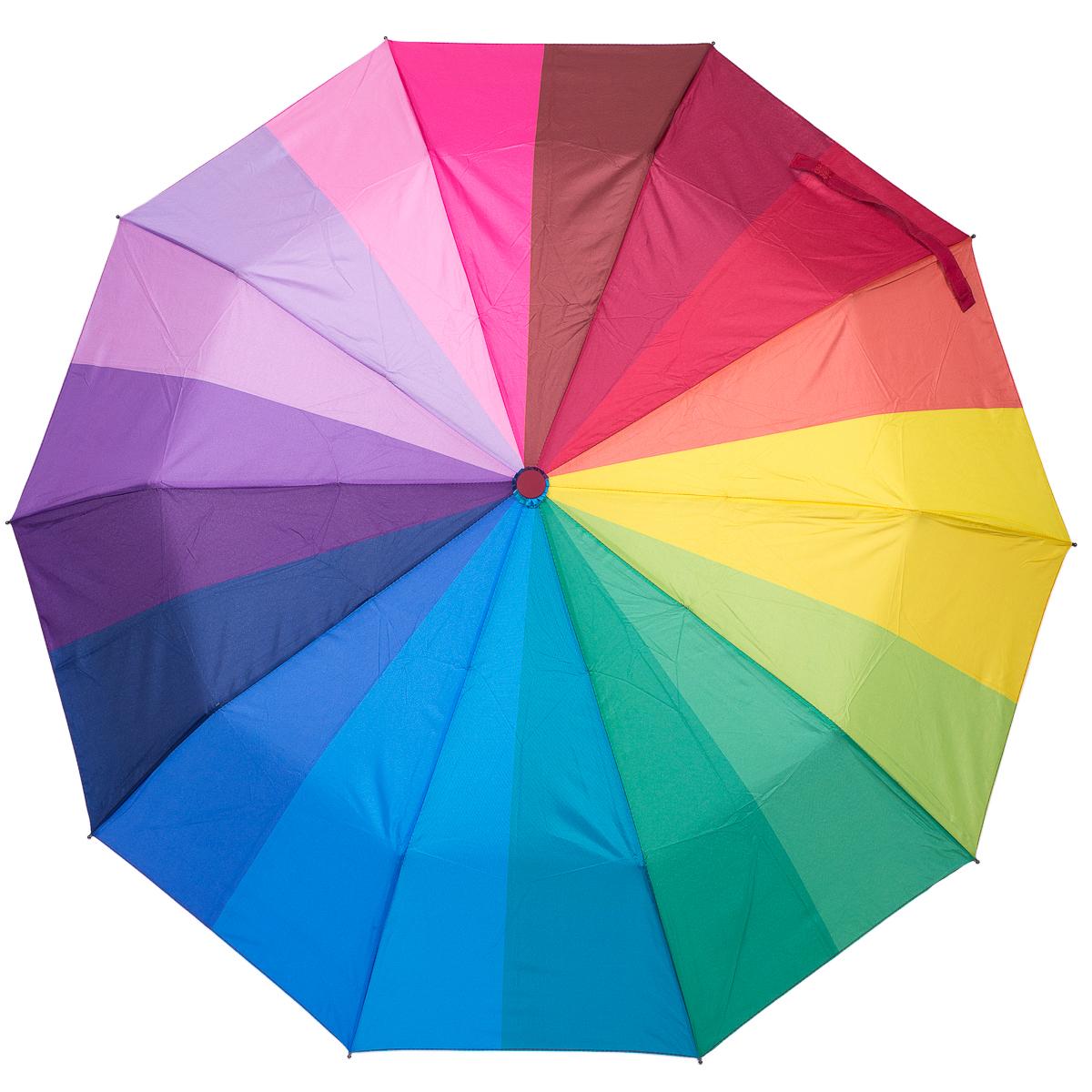 Зонт женский Nuages, автомат, 3 сложения, цвет: мультиколор. NZ873Бусы-ошейникЭлегантный женский зонт Nuages выполнен из полиэстера и пластика. Зонт имеет расцветку радуга, которая несомненно поднимет настроение в ненастную погоду.. Он имеет конструкцию в 3 сложения, полный автомат, систему антиветер. В комплекте чехол для зонта.Вес - 450 грамм.