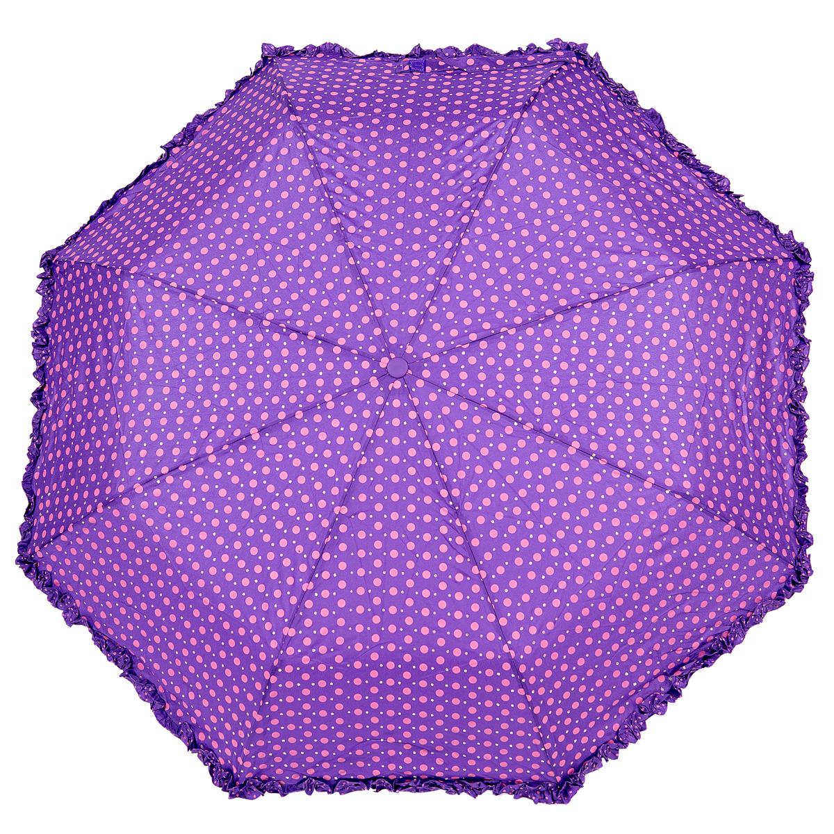 Зонт женский Nuages, цвет: сиреневый. NZ33068/1CX1516-50-10Элегантный зонтик. Полный автомат, 3 сложения, система антиветер. Дизайн - горошек, декорирован рюшей по краю зонта.