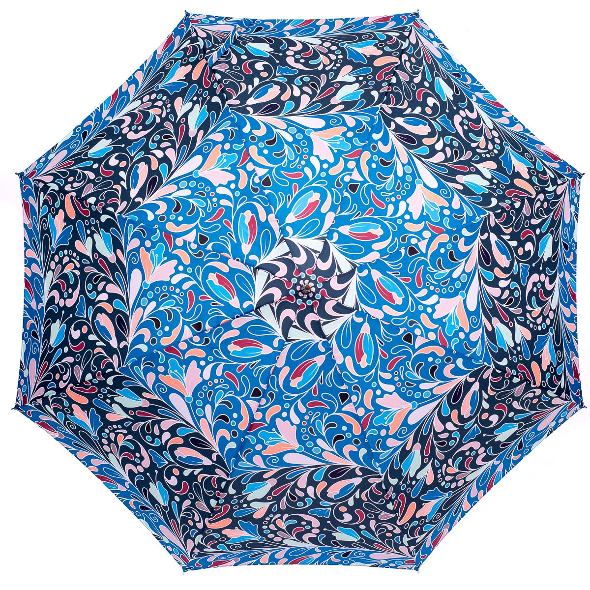 Зонт-трость женский Stilla, цвет: голубой. 772/2 auto1003-ZK1268/zЗонт-трость. Автоматическое открытие, спицы и шток из высококарбонистой стали. Ткань - полиэстер. Диаметр купола 105 см по нижней части. Длина в сложенном состоянии - 95 см.