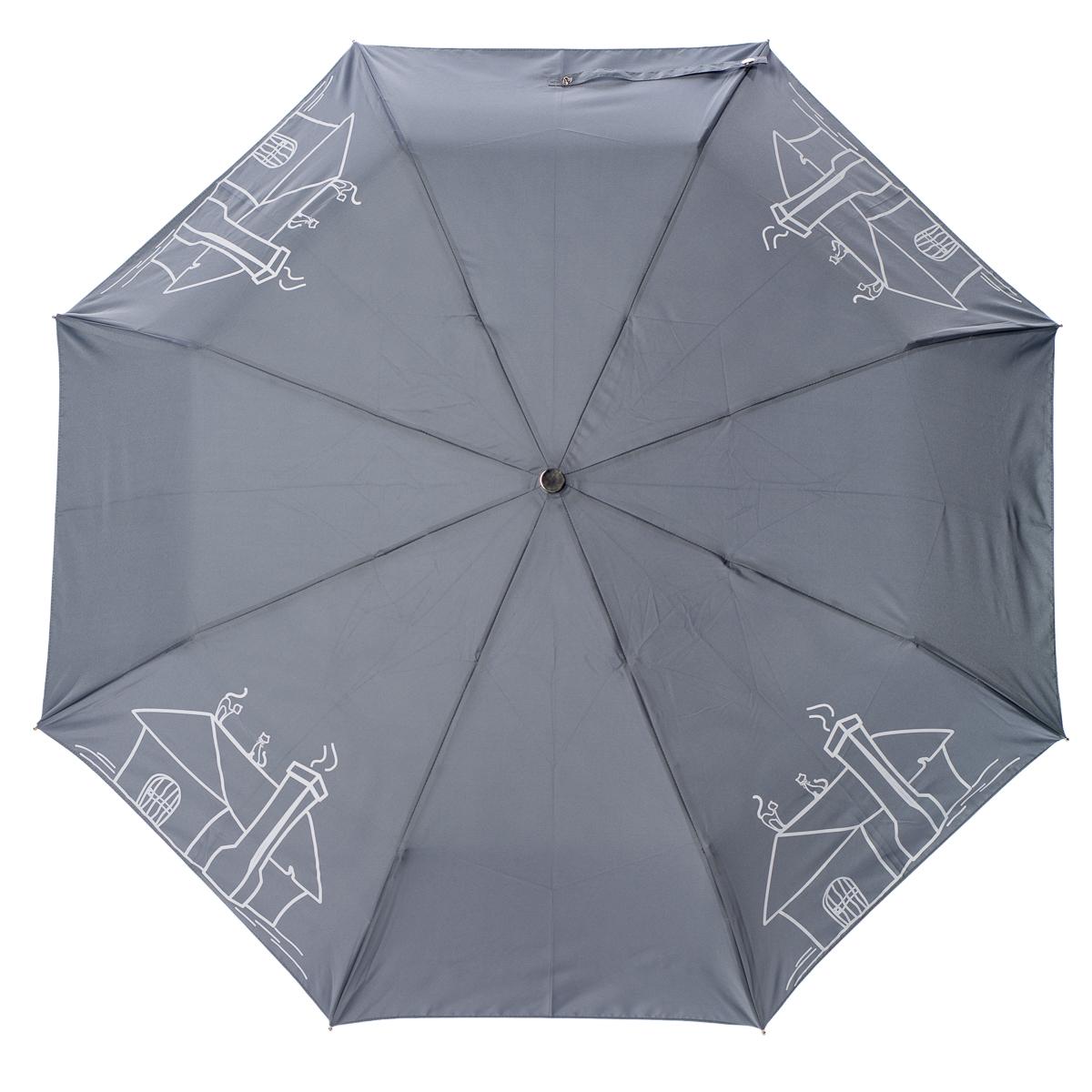 Зонт Stilla, цвет: серый. 789 miniCX1516-50-10Облегченный женский зонтик. Конструкция 3 сложения, полный автомат, облегченная конструкция (вес - 320 гр), система антиветер. Ткань - полиэстер. Диаметр купола - 112 см по верхней части, 101 см по нижней. Длина в сложенном состоянии - 27 см.