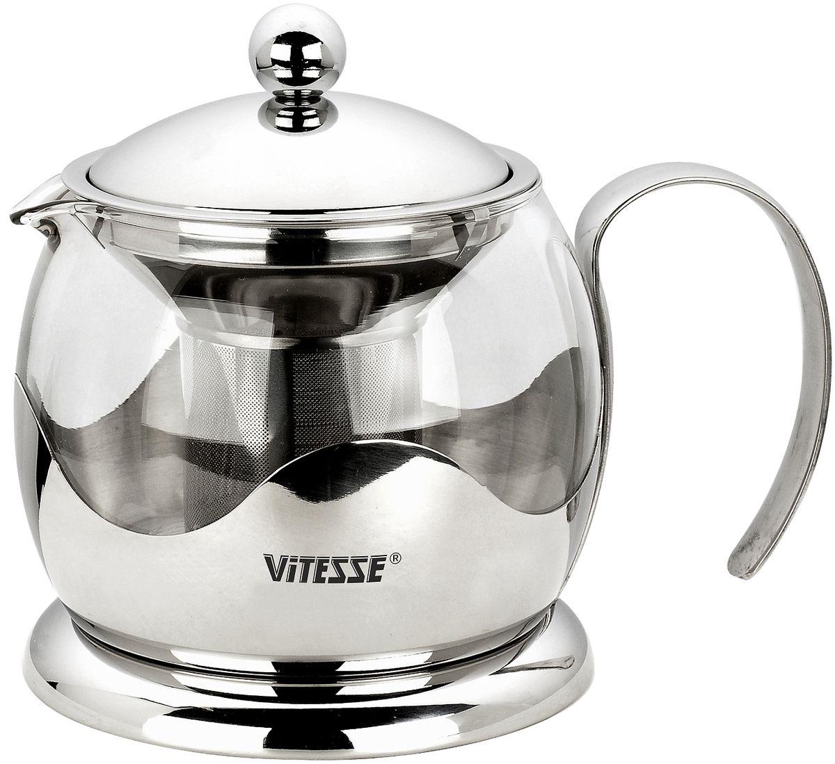 Чайник заварочный Vitesse Galina, 1,2 л. VS-192068/5/2Заварочный чайник Galina, выполненный из термостойкого стекла, послужит вам не только для приготовления чая, но и для подачи чая к столу. Благодаря резервуару из прозрачного стекла можно легко определить момент закипания воды, а также количество оставшегося чая в заварочном чайнике. Крышка и фильтр чайника, отделяющий чайные листья от воды, выполнены из высококачественной нержавеющей стали.Эстетичный и функциональный, с эксклюзивным дизайном, чайник дополнит интерьер и придаст ему оригинальности.Высота чайника (без учета крышки): 12 см. Диаметр основания чайника: 14 см.