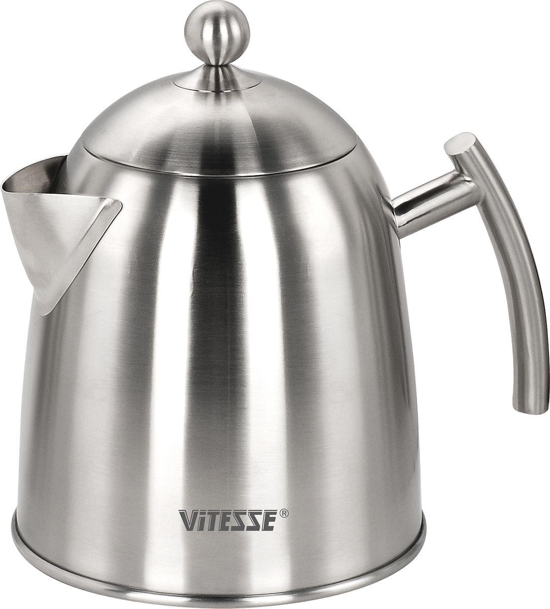 Чайник Vitesse Abella, 1,7 л115510Чайник Abella, выполненный из высококачественной нержавеющей стали с матовой полировкой, предоставит Вам все необходимые возможности для успешного приготовления напитков. Многослойное термоаккумулирующее дно чайника с прослойкой из алюминия обеспечит равномерное распределение тепла.Чайник подходит для газовых, электрических, стеклокерамических и индукционных плит и пригоден для мытья в посудомоечной машине. Характеристики:Материал:нержавеющая сталь. Объем чайника:1,7 л. Высота чайника (без учета крышки):20 см. Диаметр основания чайника:15,5 см. Размер упаковки:23 см х 20,5 см х 16 см. Изготовитель:Китай.Артикул:VS-1113. Кухонная посуда марки Vitesseиз нержавеющей стали 18/10 предоставит Вам все необходимое для получения удовольствия от приготовления пищи и принесет радость от его результатов. Посуда Vitesse обладает выдающимися функциональными свойствами. Легкие в уходе кастрюли и сковородки имеют плотно закрывающиеся крышки, которые дают возможность готовить с малым количеством воды и экономией энергии, и идеально подходят для всех видов плит: газовых, электрических, стеклокерамических и индукционных. Конструкция дна посуды гарантирует быстрое поглощение тепла, его равномерное распределение и сохранение. Великолепно отполированная поверхность, а также многочисленные конструктивные новшества, заложенные во все изделия Vitesse, позволит Вам открыть новые горизонты приготовления уже знакомых блюд. Для производства посуды Vitesseиспользуются только высококачественные материалы, которые соответствуют международным стандартам.