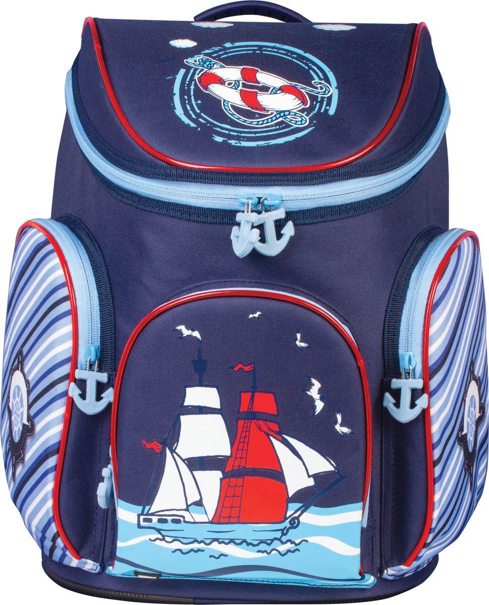 Brauberg Ранец для мальчика КорабльS76245Ранец предназначен для мальчиков 7-10 лет. Форма данной модели рассчитана на повышенную вместительность, поэтому за счет большого отделения и карманов все необходимое всегда будет под рукой. Морская тематика приглянется юным мечтателям.