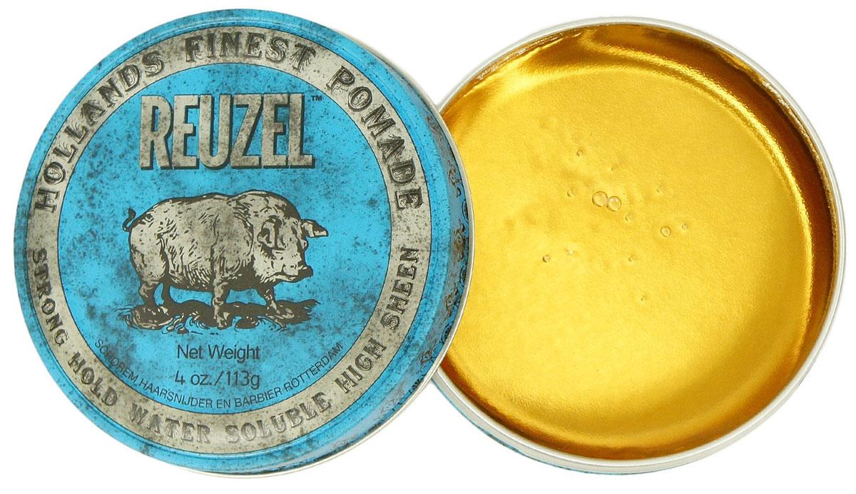 Reuzel помада для укладки волос, синяя банка 113грMP59.4DПомада REUZEL голубая: сверхсильная фиксацияПомада Reuzel в голубой банке придаёт укладке ультраблеск, фиксирует как воск, но смывается водой так же просо как гель. Эта супер-концентрированная помада подходит для волос любого типа и полирует до блеска любую причёску: от помпадура и квиффа до slick back и любых смелых форм в укладке. Голубая помада Reuzel сохраняет пластичность весь день, никогда не затвердевает и не превращается в хлопья. С ванильно-древесным ароматом.- Сильная фиксация как у воска- Суперблеск и эффект отполированной укладки- Состав на водной основе, легко смывается- Превосходная прическа весь день