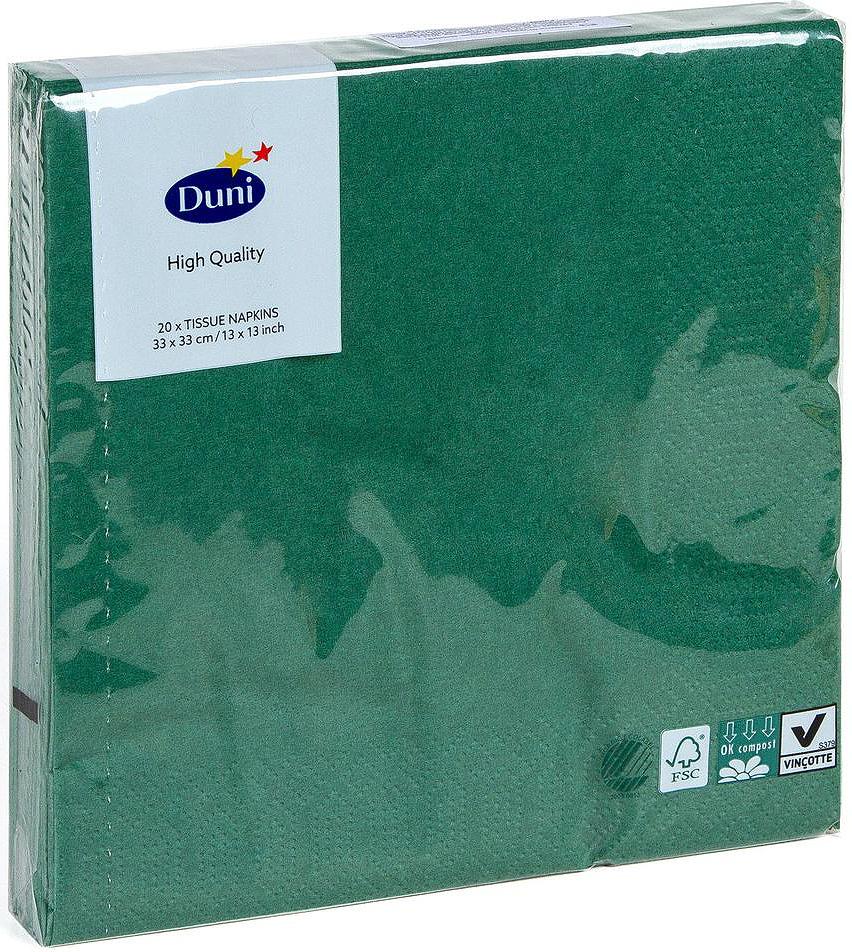 Салфетки бумажные Duni, 3-слойные, цвет: зеленый, 33 х 33 см, 20 штMW-3101Трехслойные бумажные салфетки Duni изготовлены из экологически чистого, высококачественного сырья - 100% целлюлозы. Они выполнены в оригинальном и современном стиле, прекрасно сочетаются с любым интерьером и всегда будут прекрасным и незаменимым украшением стола.Размер салфеток: 33 х 33 см.