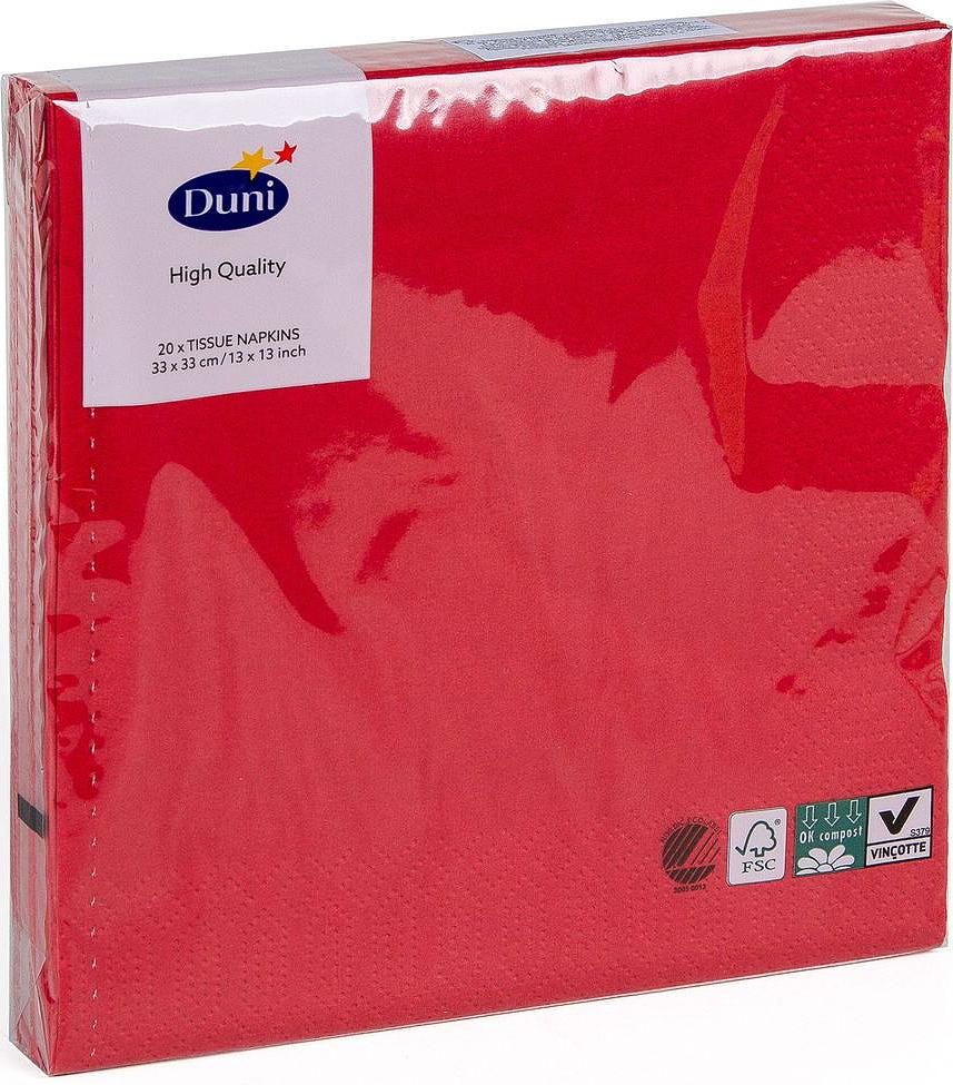Салфетки бумажные Duni, 3-слойные, цвет: красный, 33 х 33 см, 20 штVT-1520(SR)Трехслойные бумажные салфетки изготовлены из экологически чистого, высококачественного сырья - 100% целлюлозы. Салфетки выполнены в оригинальном и современном стиле, прекрасно сочетаются с любым интерьером и всегда будут прекрасным и незаменимым украшением стола.