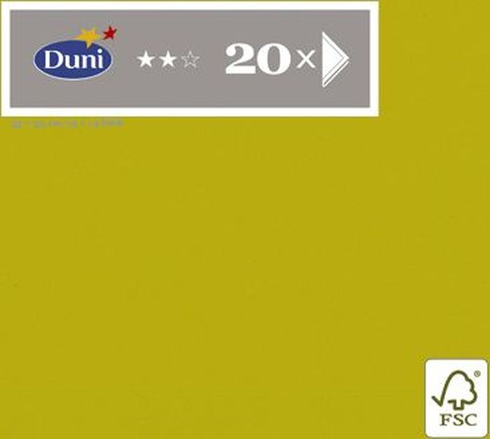 Салфетки бумажные Duni, 3-слойные, цвет: оливковый, 33 х 33 см, 20 штTC-35FL-ACТрехслойные бумажные салфетки изготовлены из экологически чистого, высококачественного сырья - 100% целлюлозы. Салфетки выполнены в оригинальном и современном стиле, прекрасно сочетаются с любым интерьером и всегда будут прекрасным и незаменимым украшением стола.