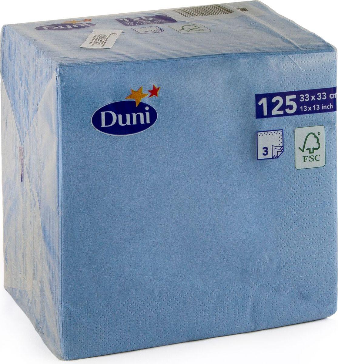 Салфетки бумажные Duni, 3-слойные, цвет: голубой, 33 х 33 смVT-1520(SR)Трехслойные бумажные салфетки изготовлены из экологически чистого, высококачественного сырья - 100% целлюлозы. Салфетки выполнены в оригинальном и современном стиле, прекрасно сочетаются с любым интерьером и всегда будут прекрасным и незаменимым украшением стола.