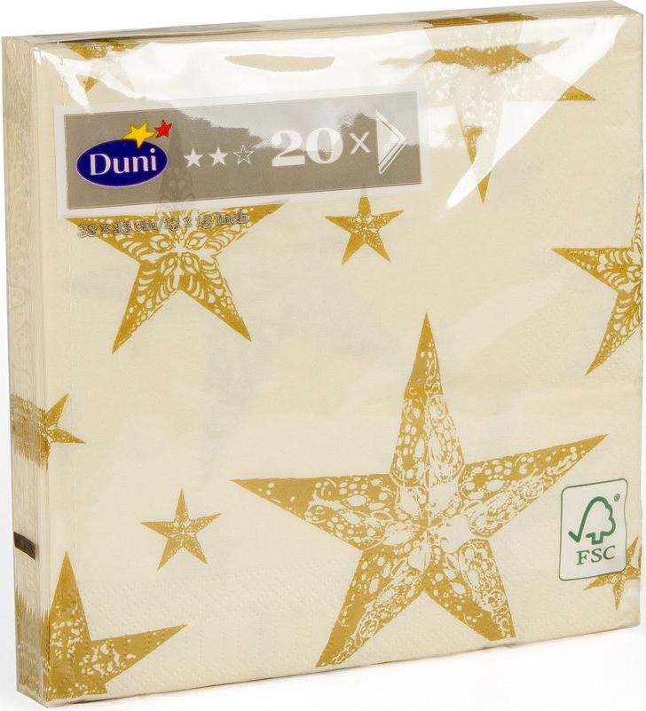 Салфетки бумажные Duni My Star Cream, 3-слойные, 33 х 33 смVT-1520(SR)Многослойные бумажные салфетки изготовлены из экологически чистого, высококачественного сырья - 100% целлюлозы. Салфетки выполнены в оригинальном и современном стиле, прекрасно сочетаются с любым интерьером и всегда будут прекрасным и незаменимым украшением стола.