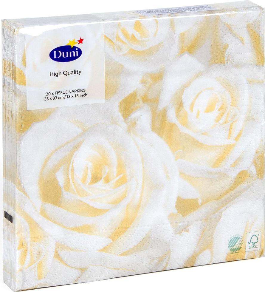 Салфетки бумажные Duni Белые Розы, 3-слойные, 33 х 33 см, 20 шт19201Трехслойные бумажные салфетки изготовлены из экологически чистого, высококачественного сырья - 100% целлюлозы. Салфетки выполнены в оригинальном и современном стиле, прекрасно сочетаются с любым интерьером и всегда будут прекрасным и незаменимым украшением стола.