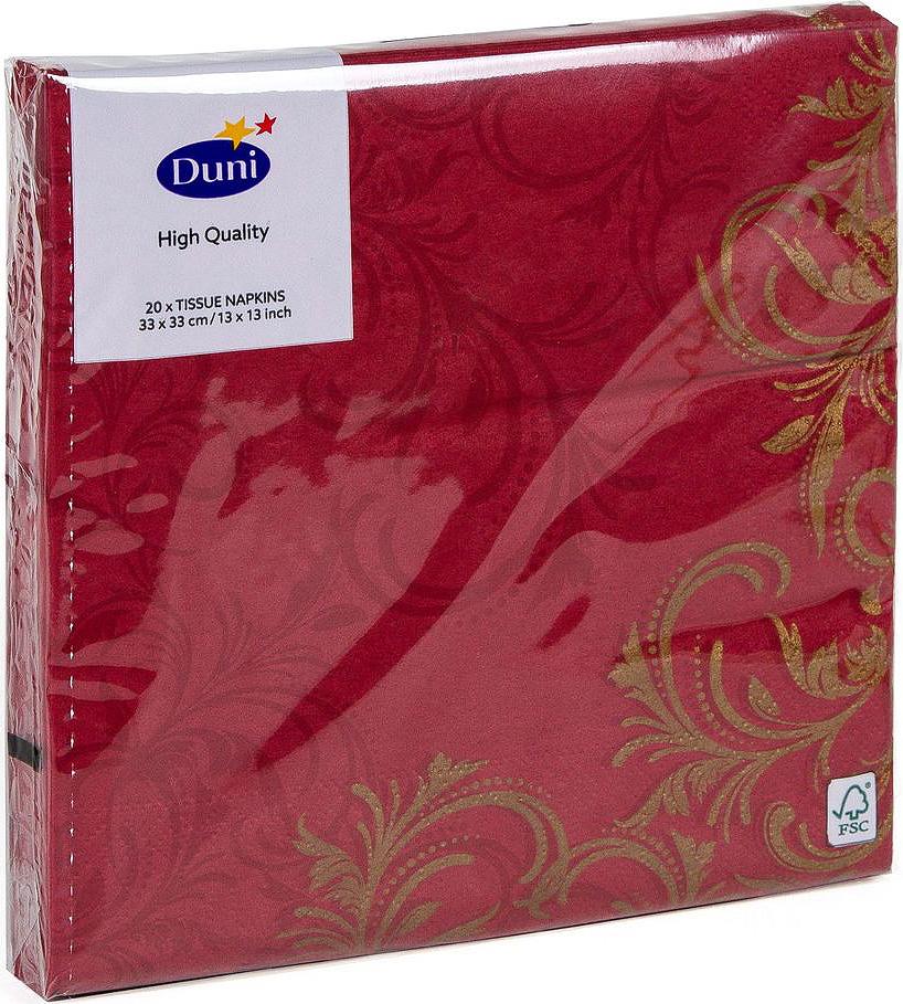 Салфетки бумажные Duni Grace, 3-слойные, цвет: бордовый, 33 х 33 смV30 AC DCТрехслойные бумажные салфетки изготовлены из экологически чистого, высококачественного сырья - 100% целлюлозы. Салфетки выполнены в оригинальном и современном стиле, прекрасно сочетаются с любым интерьером и всегда будут прекрасным и незаменимым украшением стола.