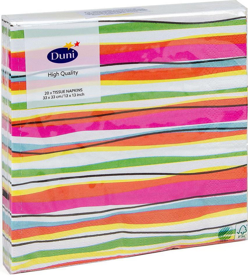Салфетки бумажные Duni Felicia Stripes, 3-слойные, 33 х 33 смVT-1520(SR)Трехслойные бумажные салфетки изготовлены из экологически чистого, высококачественного сырья - 100% целлюлозы. Салфетки выполнены в оригинальном и современном стиле, прекрасно сочетаются с любым интерьером и всегда будут прекрасным и незаменимым украшением стола.