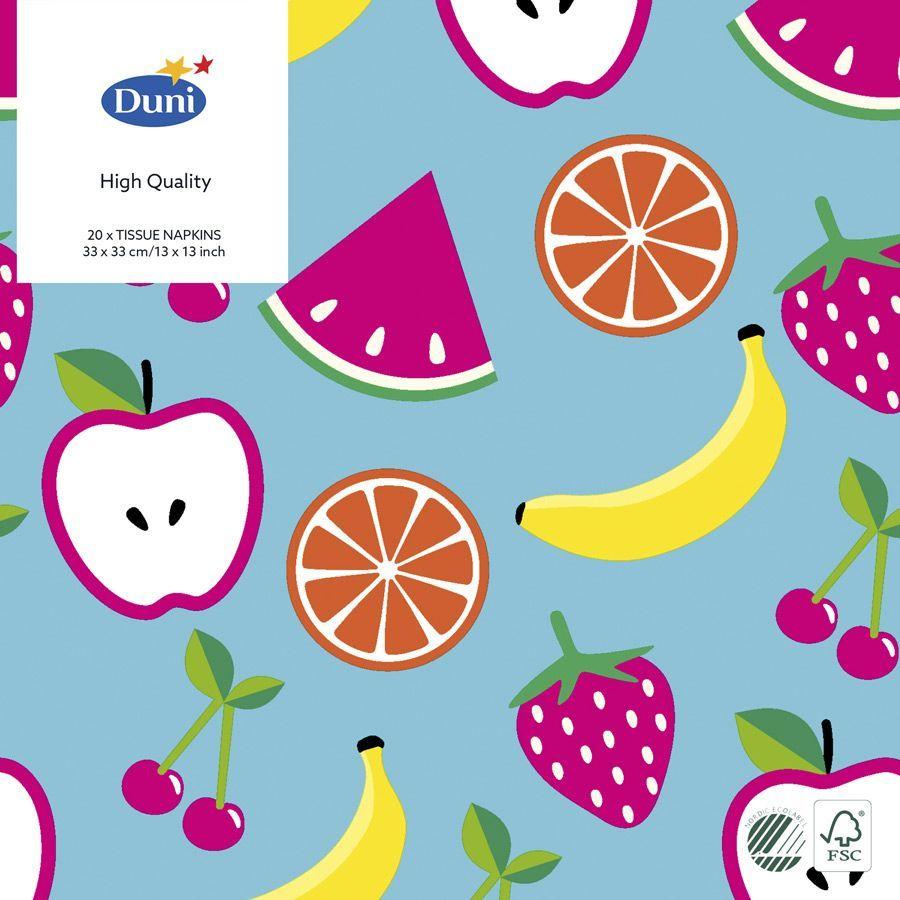 Салфетки бумажные Duni Fruits, 3-слойные, 33 х 33 смS28 DCТрехслойные бумажные салфетки изготовлены из экологически чистого, высококачественного сырья - 100% целлюлозы. Салфетки выполнены в оригинальном и современном стиле, прекрасно сочетаются с любым интерьером и всегда будут прекрасным и незаменимым украшением стола.