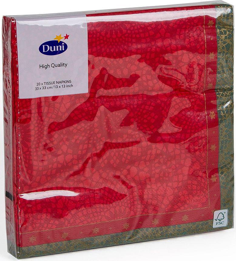 Салфетки бумажные Duni Festive Charm Red, 3-слойные, 33 х 33 смC0042416Многослойные бумажные салфетки изготовлены из экологически чистого, высококачественного сырья - 100% целлюлозы. Салфетки выполнены в оригинальном и современном стиле, прекрасно сочетаются с любым интерьером и всегда будут прекрасным и незаменимым украшением стола.