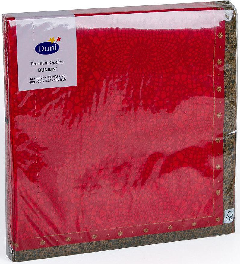 Салфетки бумажные Duni DL Soft. Festive Charm Red, 40 смVT-1520(SR)Многослойные бумажные салфетки изготовлены из экологически чистого, высококачественного сырья - 100% целлюлозы. Салфетки выполнены в оригинальном и современном стиле, прекрасно сочетаются с любым интерьером и всегда будут прекрасным и незаменимым украшением стола.